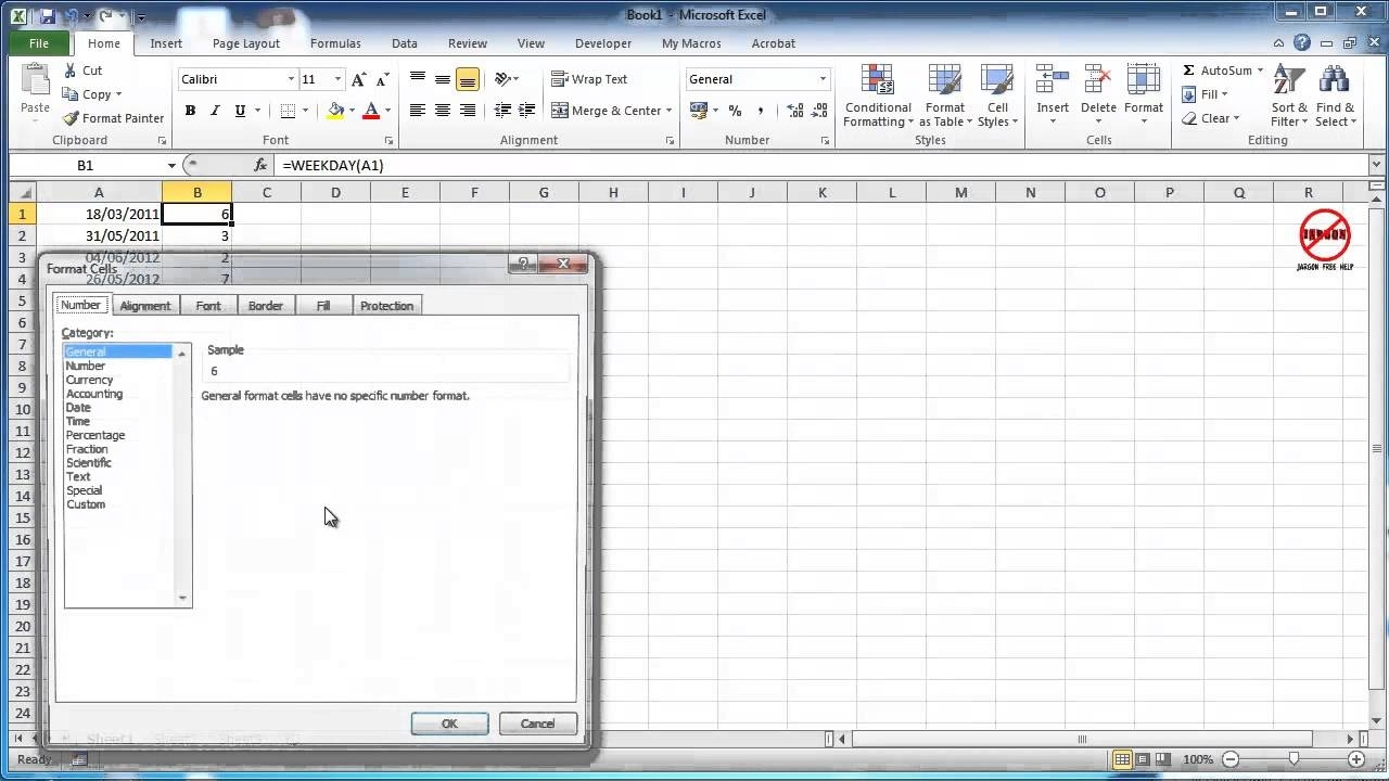 Excel: How To Show The Day Of The Week For A Date - Weekday Function