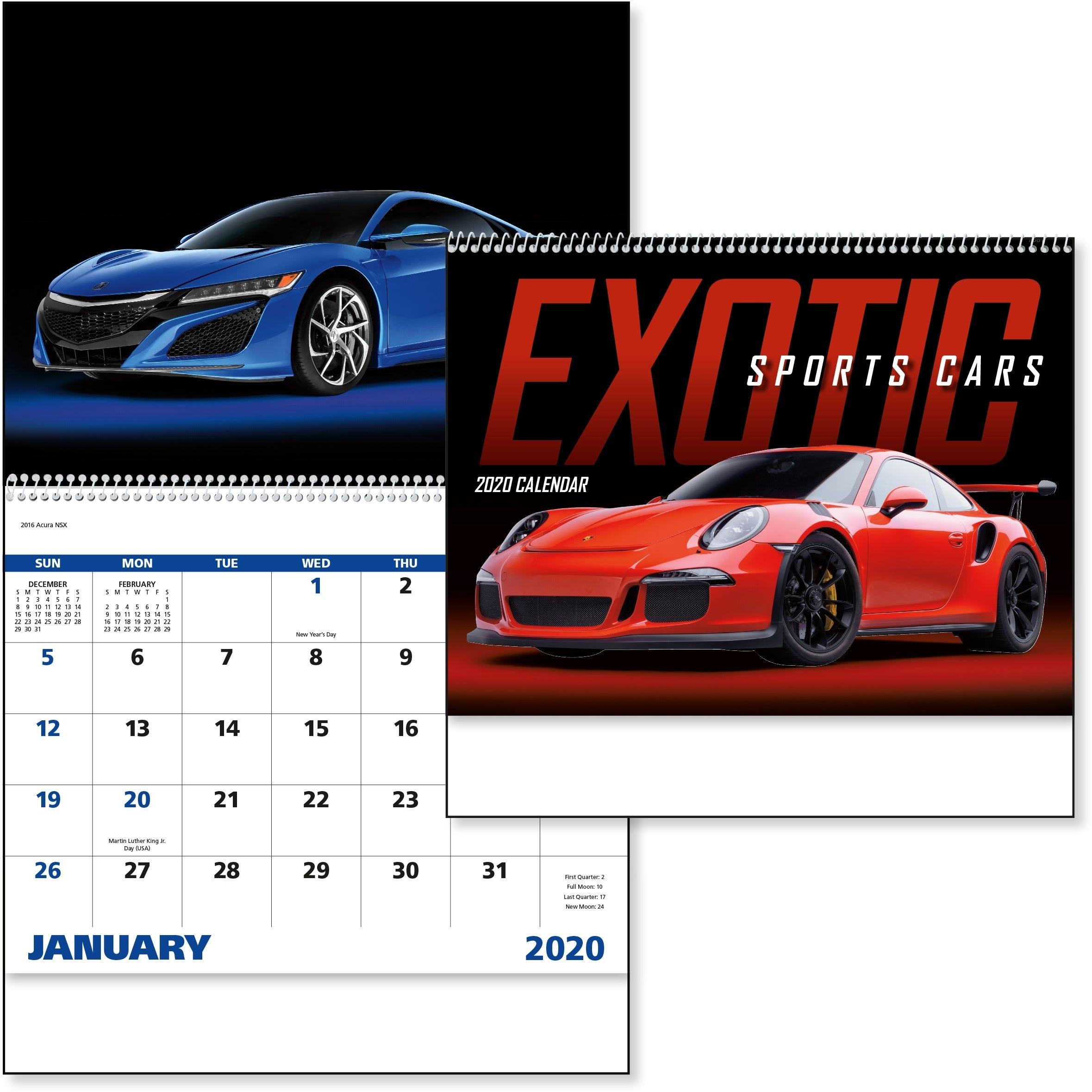 Exotic Sports Cars Calendar (2021, Spiral)