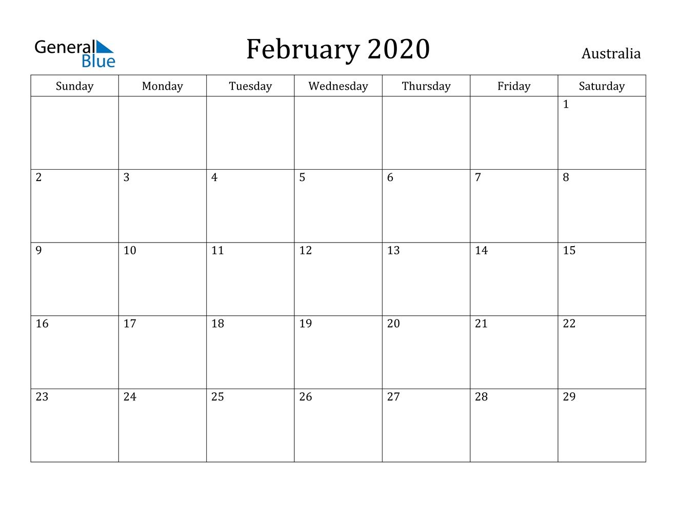February 2020 Calendar - Australia