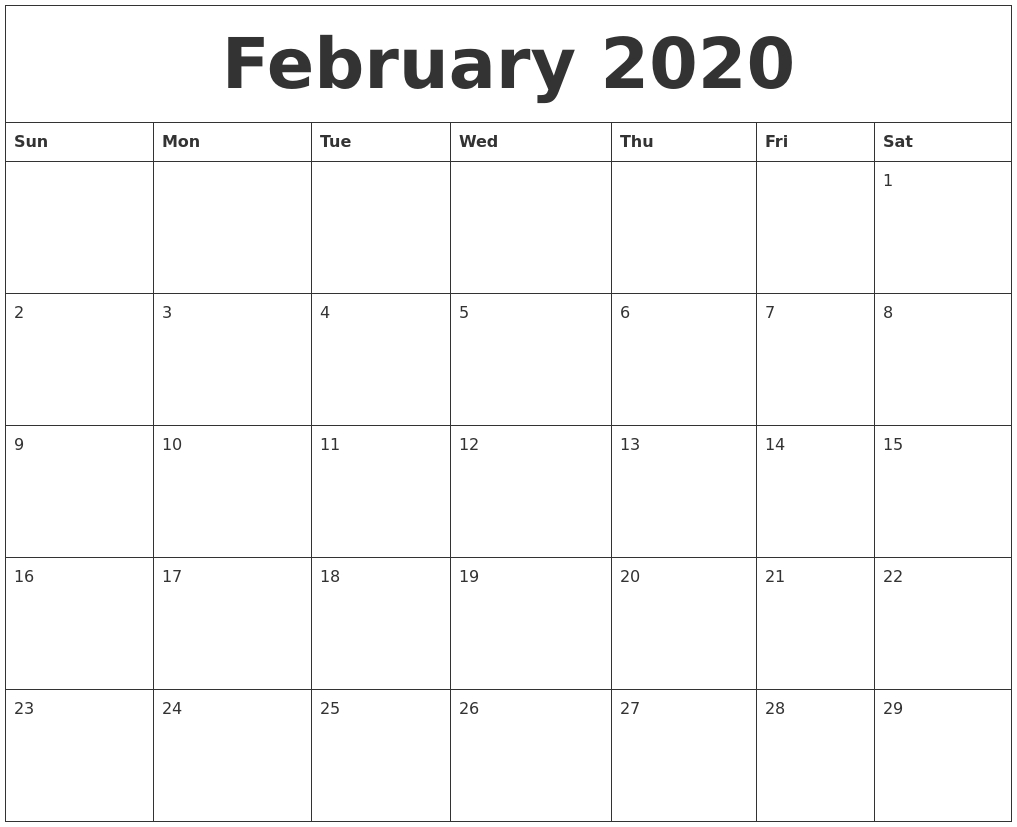 February 2020 Online Printable Calendar