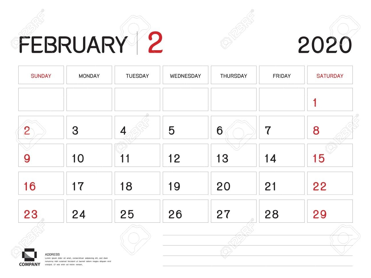 February 2020 Year Template, Calendar 2020 Vector, Desk Calendar..