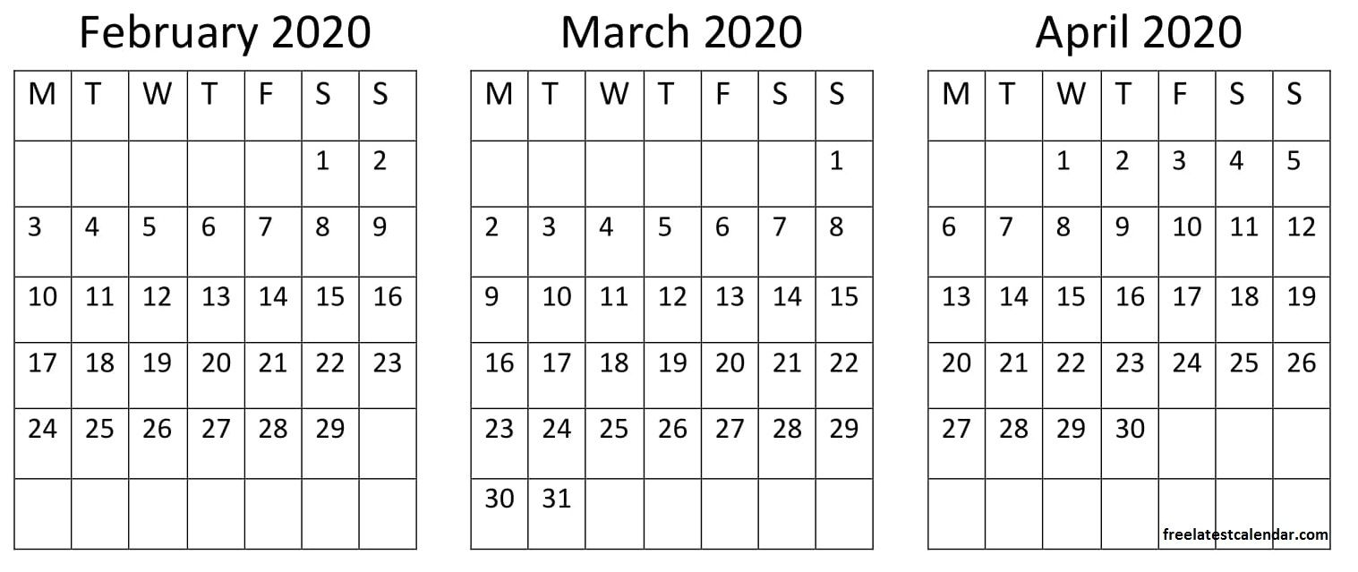 February March April 2020 Calendar In 2020 | Holiday