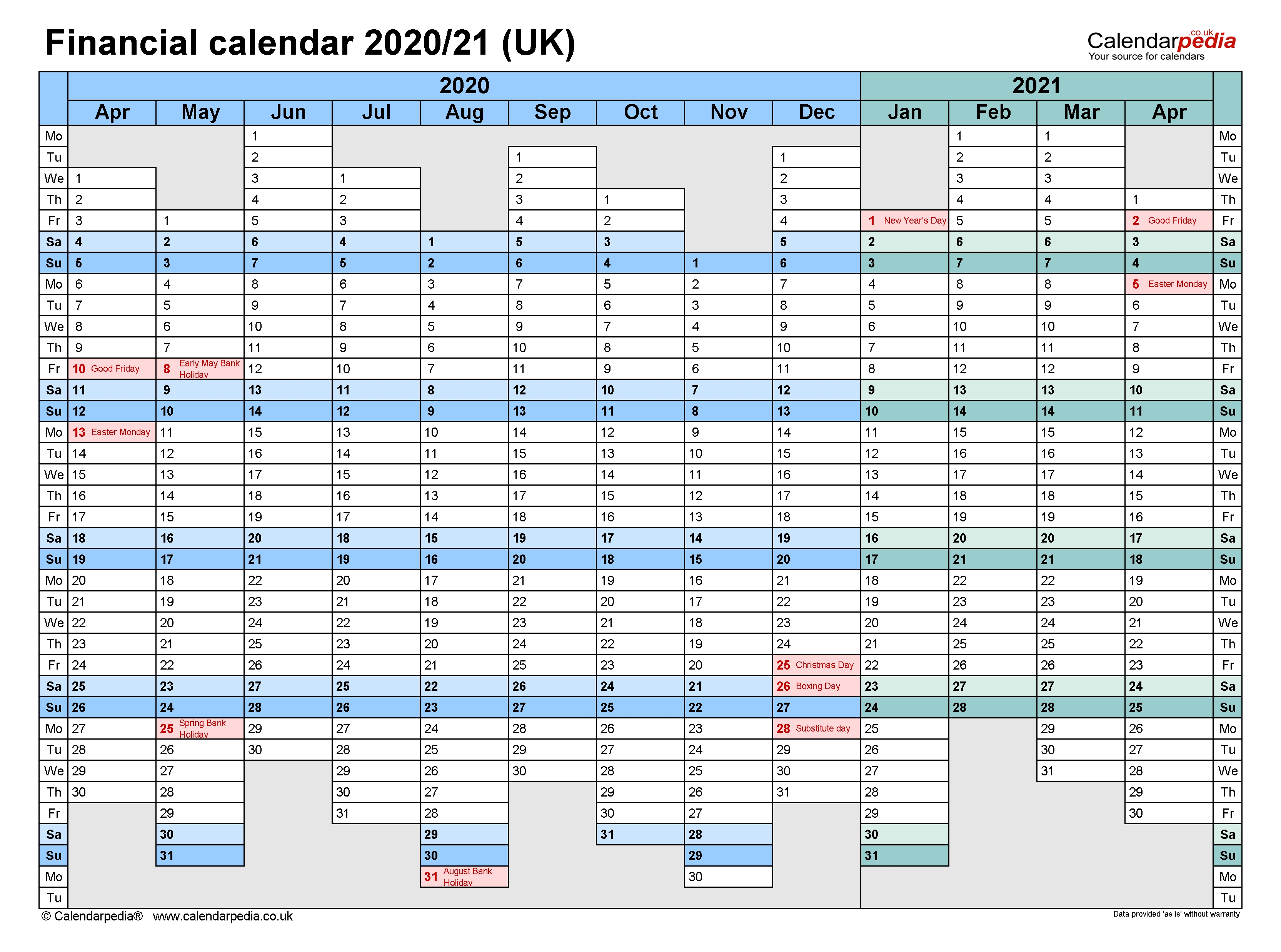 Financial Calendars 2020/21 (Uk) In Microsoft Excel Format