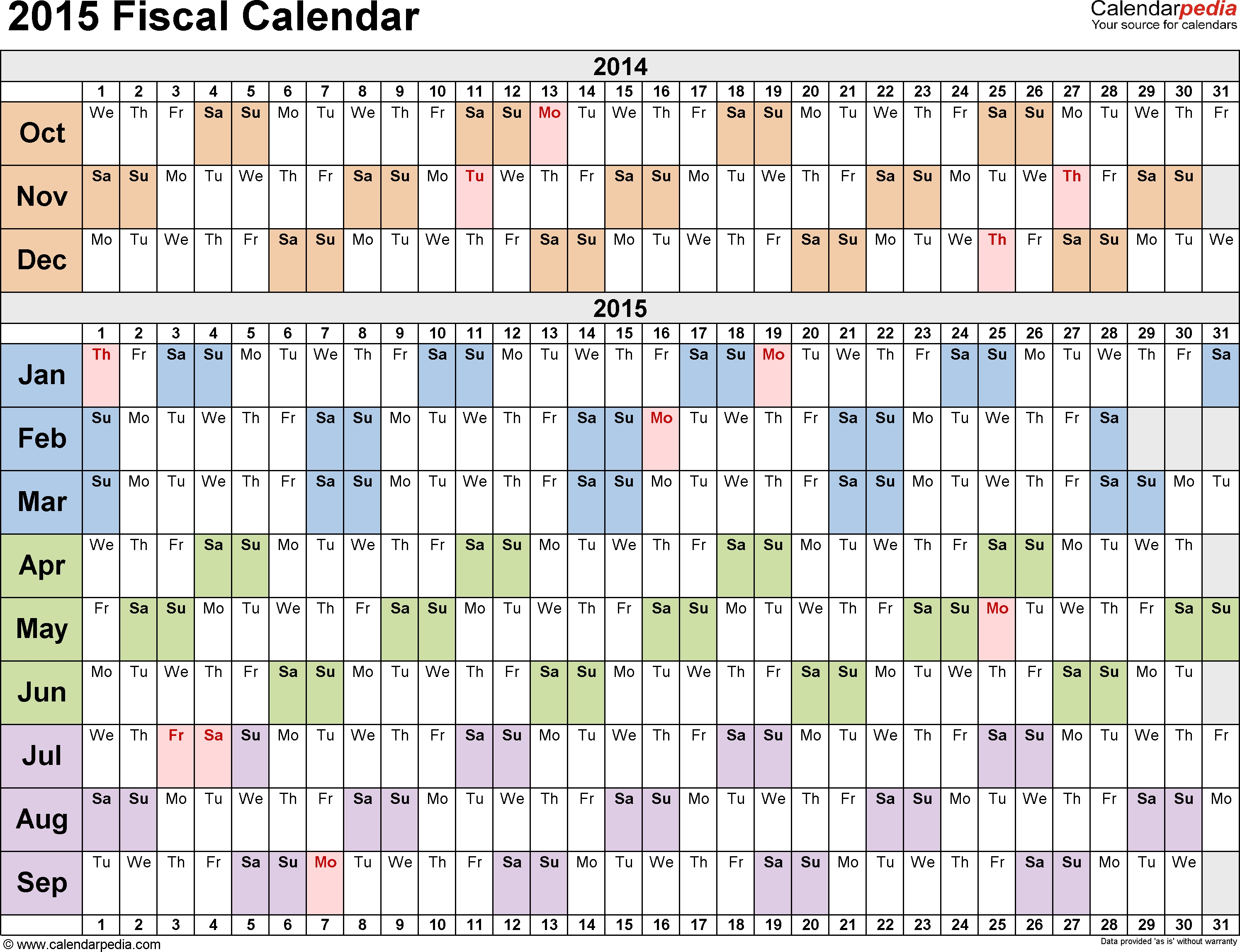 Fiscal Calendars 2015 As Free Printable #145921 - Png Images