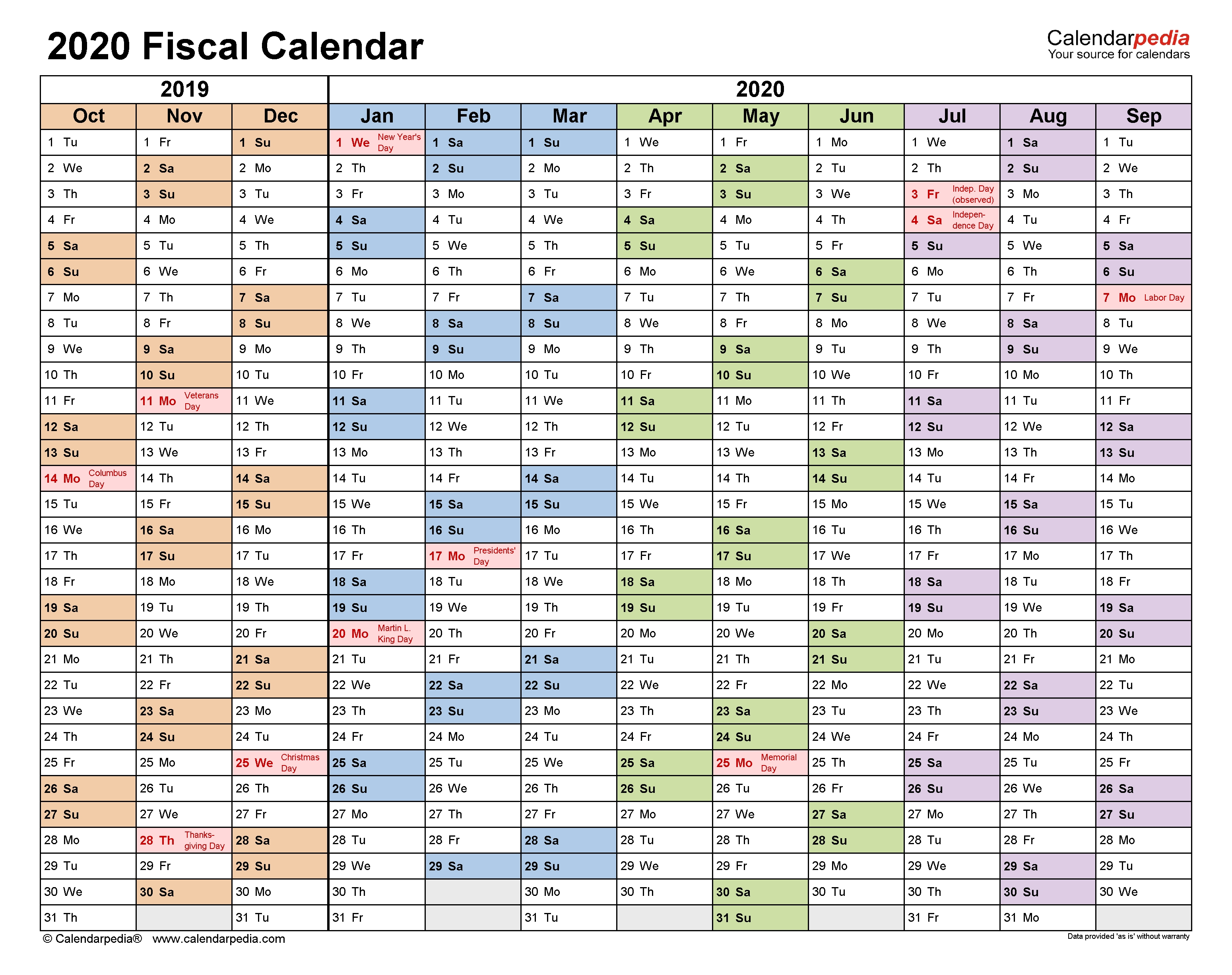 Fiscal Calendars 2020 - Free Printable Pdf Templates