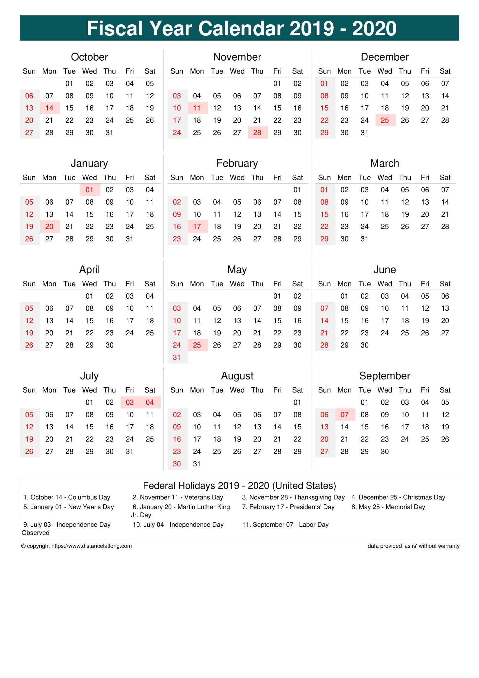 Fiscal Year 2019-2020 Calendar Templates, Free Printable