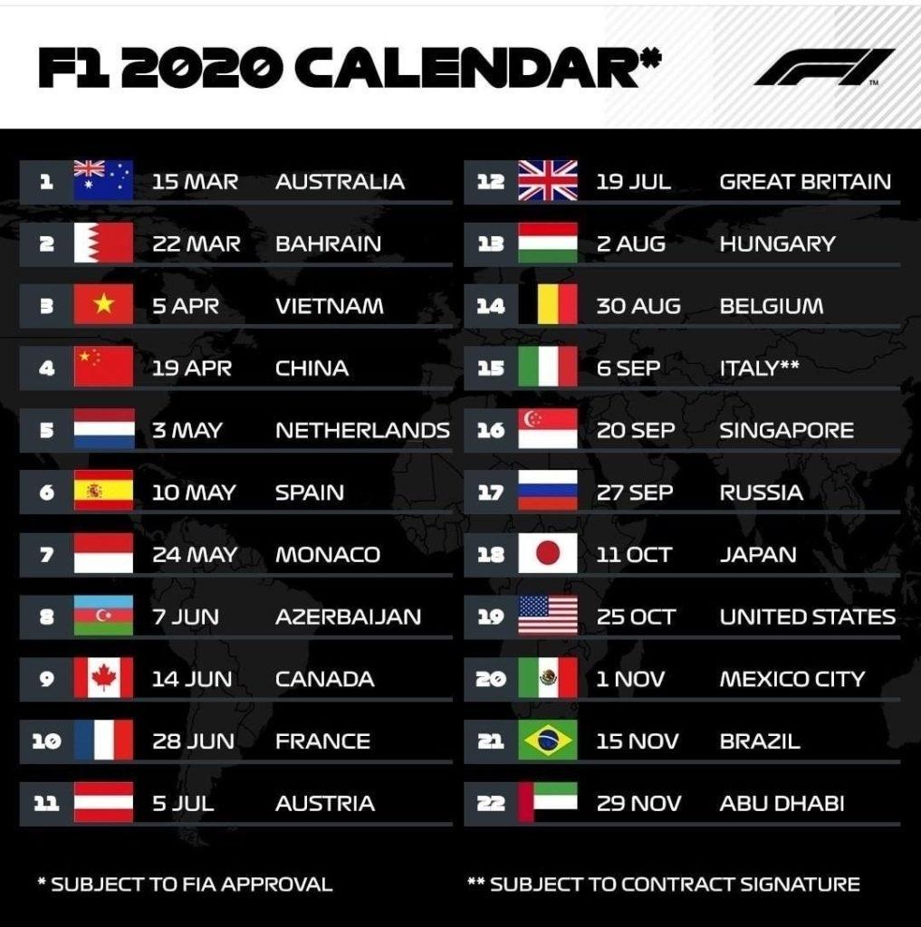 Formula 1 2020 Live Stream, Schedule & Live Telecast Information