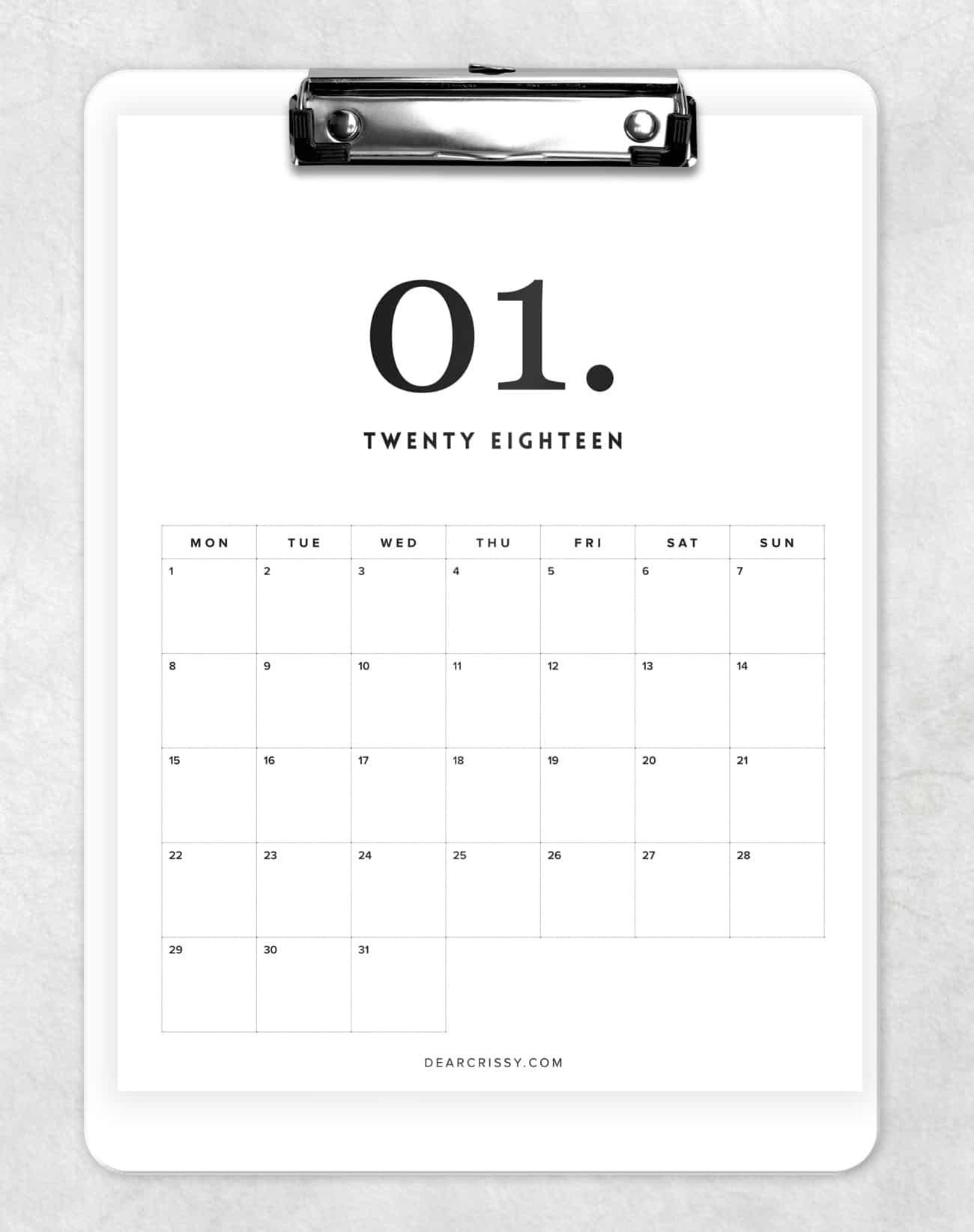 Free 2018 Minimal Calendar Printable - Modern Calendar