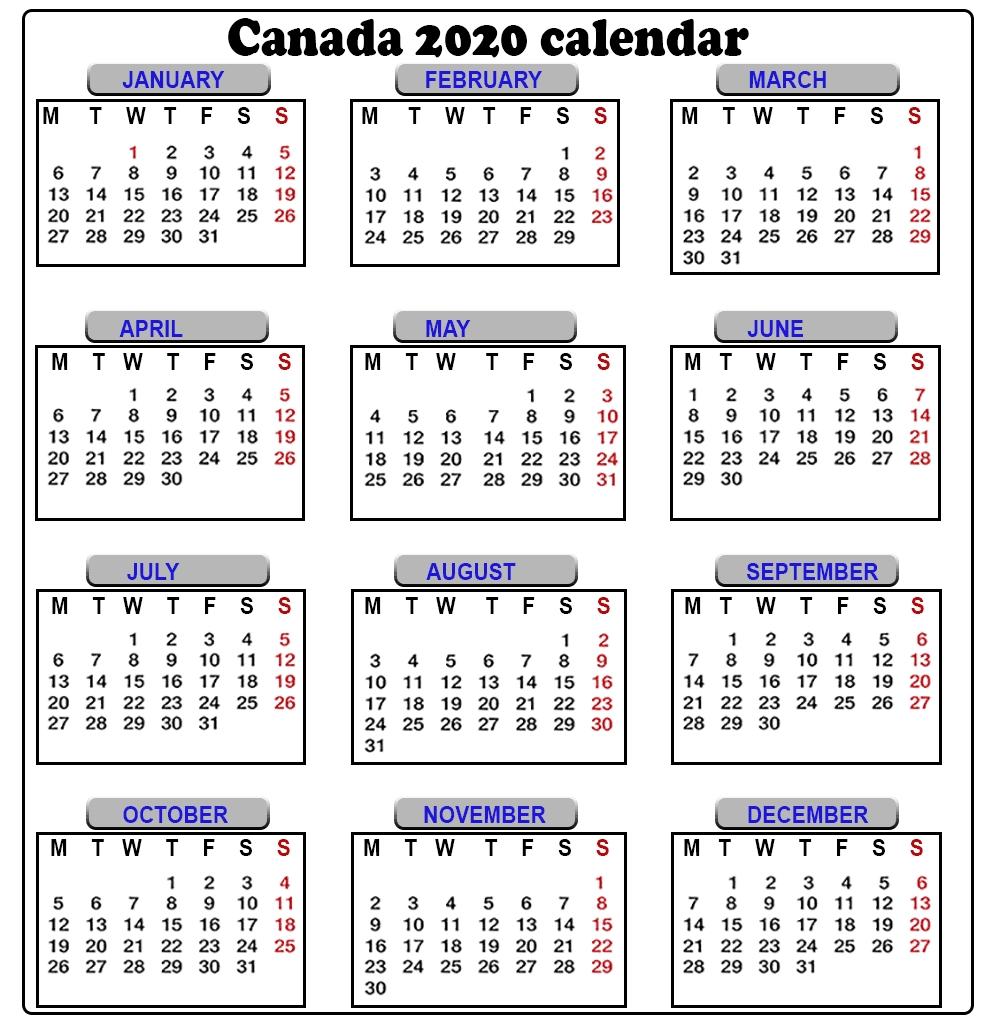 Free 2020 Canada Calendar (With Images) | Canada Calendar