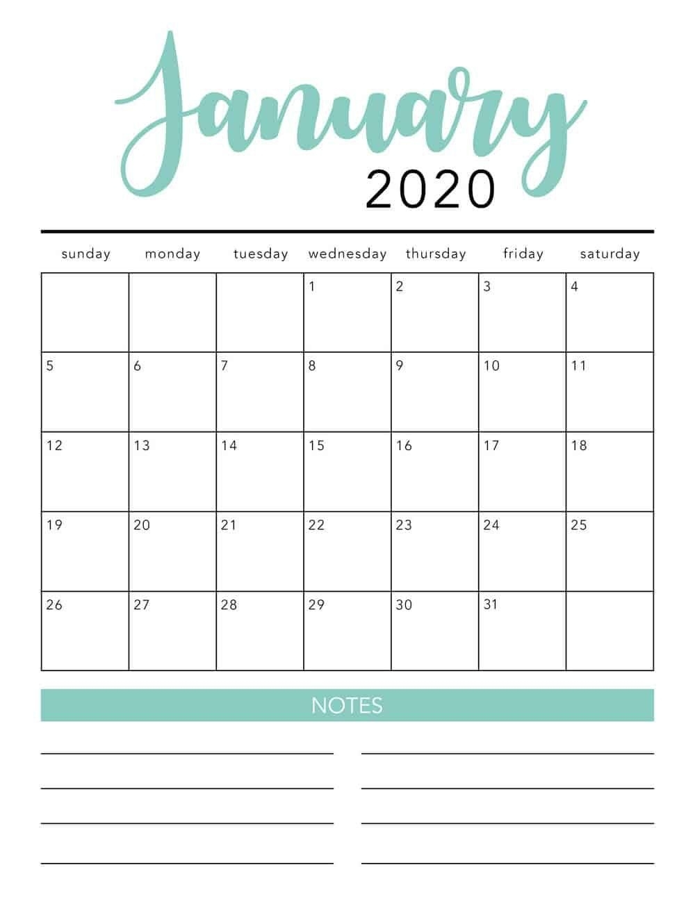 Free 2020 Monthly Calendar Printable (With Images) | Free