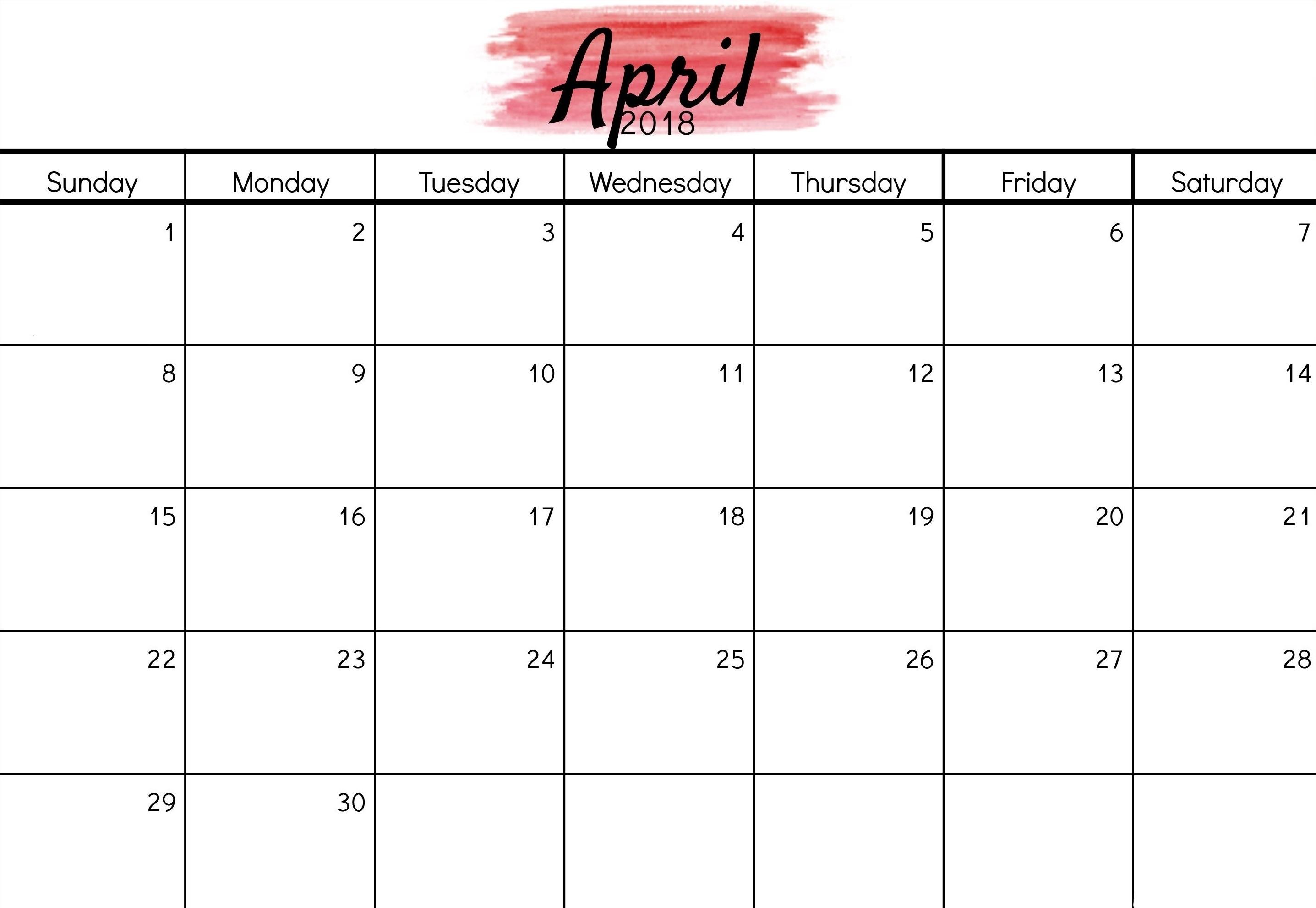 Free April 2018 Calendar Printable | Calendarbuzz