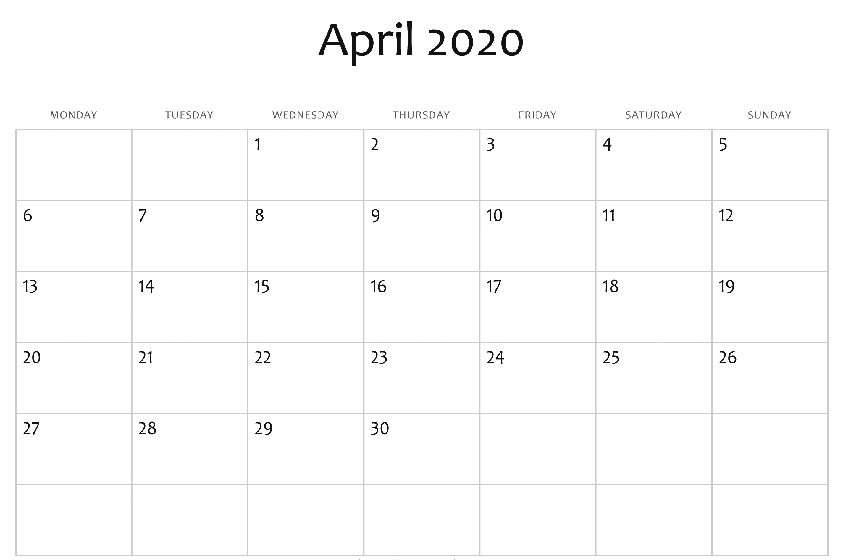 Free April Calendar 2020 Free Printable Template Pdf Word