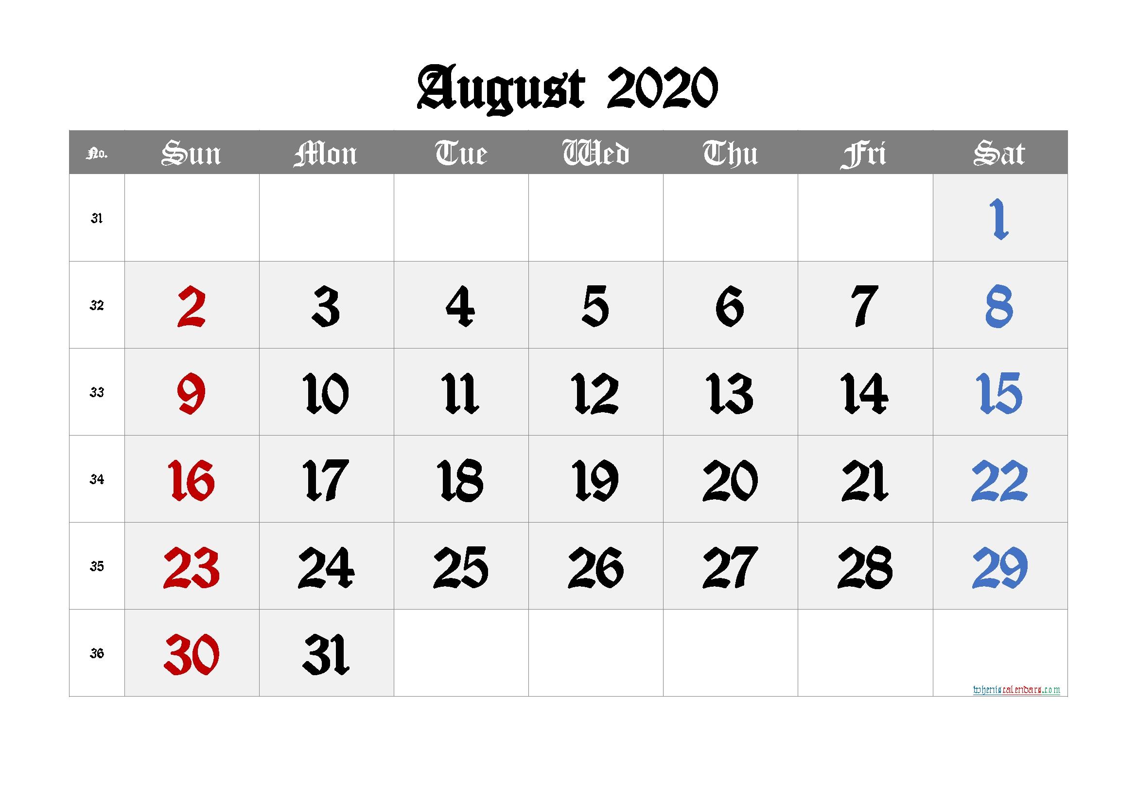 Free August 2020 Calendar With Week Numbers – Free Printable