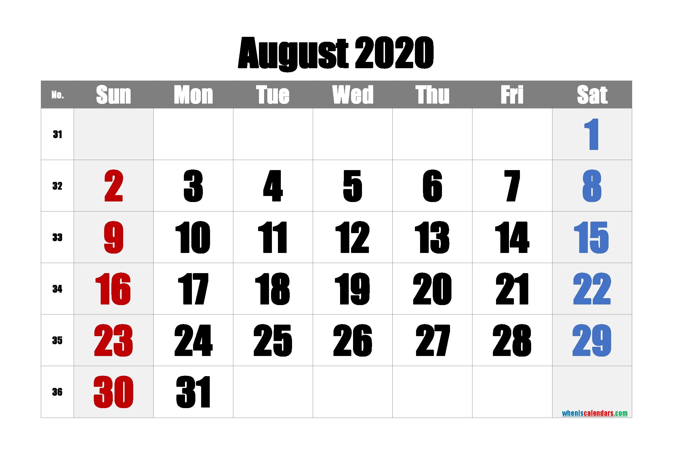Free August 2020 Calendar With Week Numbers | Free Printable