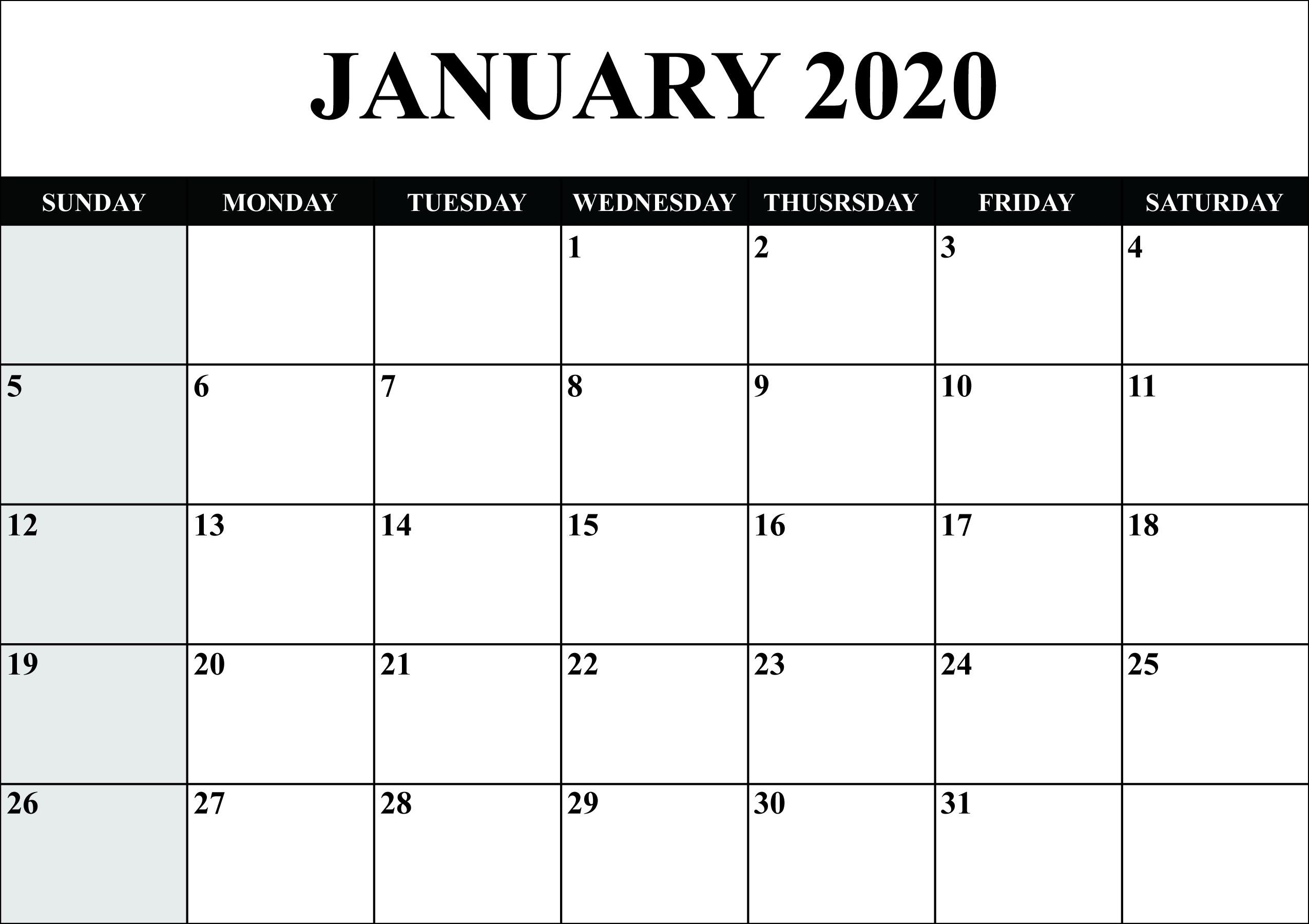 Free Blank January 2020 Calendar Printable In Pdf, Word