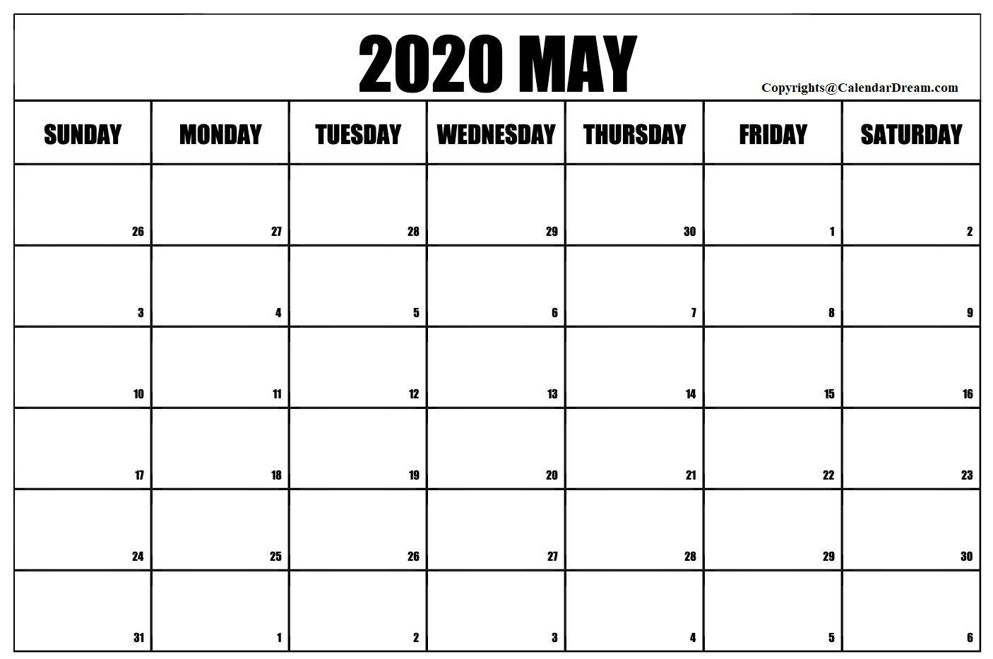 Free Blank May 2020 Printable Calendar Template [Pdf