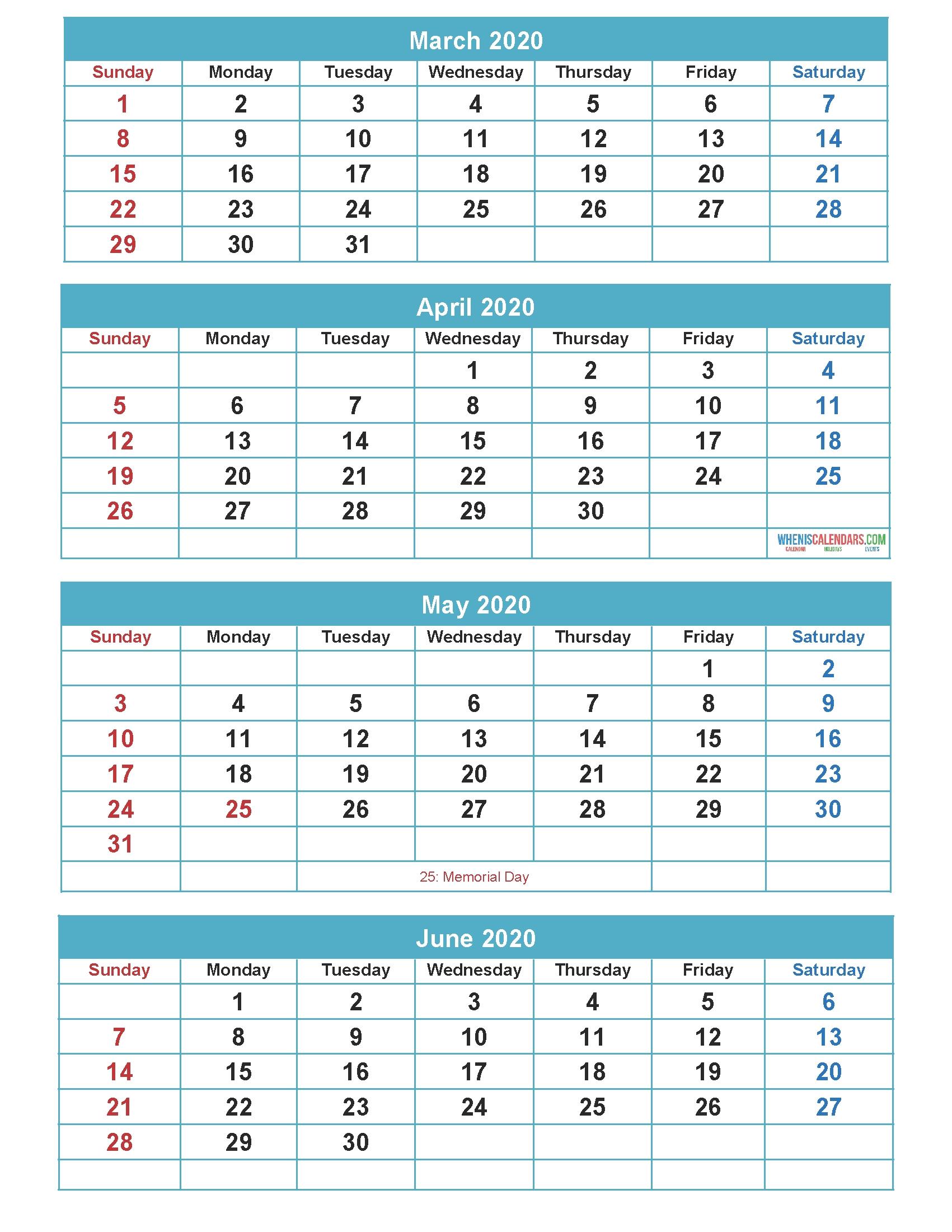 Free Calendar 2020 March April May June 4 Months Calendar