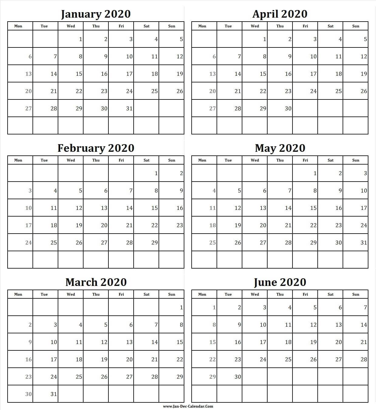 Free Calendar January To June 2020 | Six Month Calendar