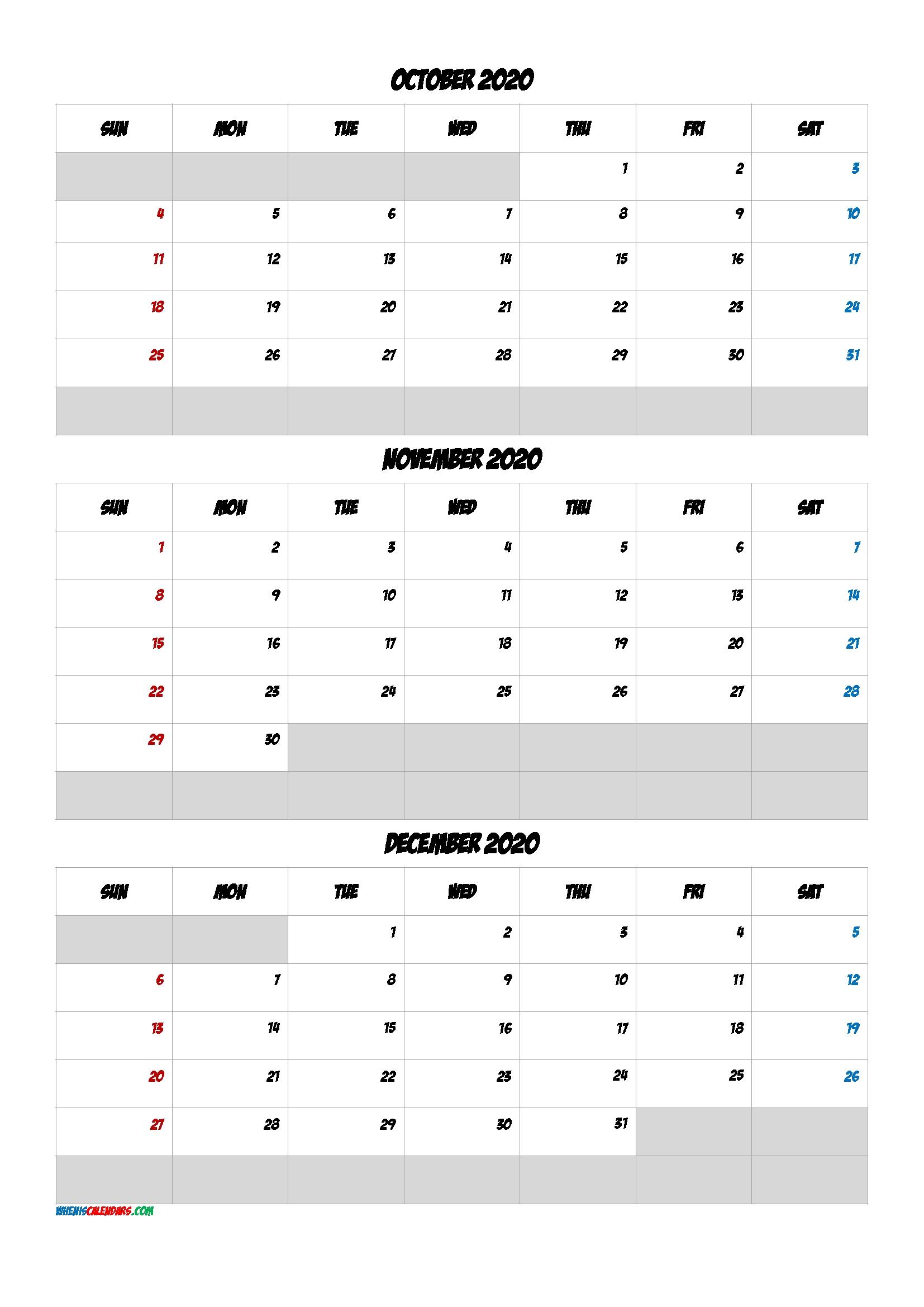Free Calendar October November December 2020 [Q1-Q2-Q3-Q4