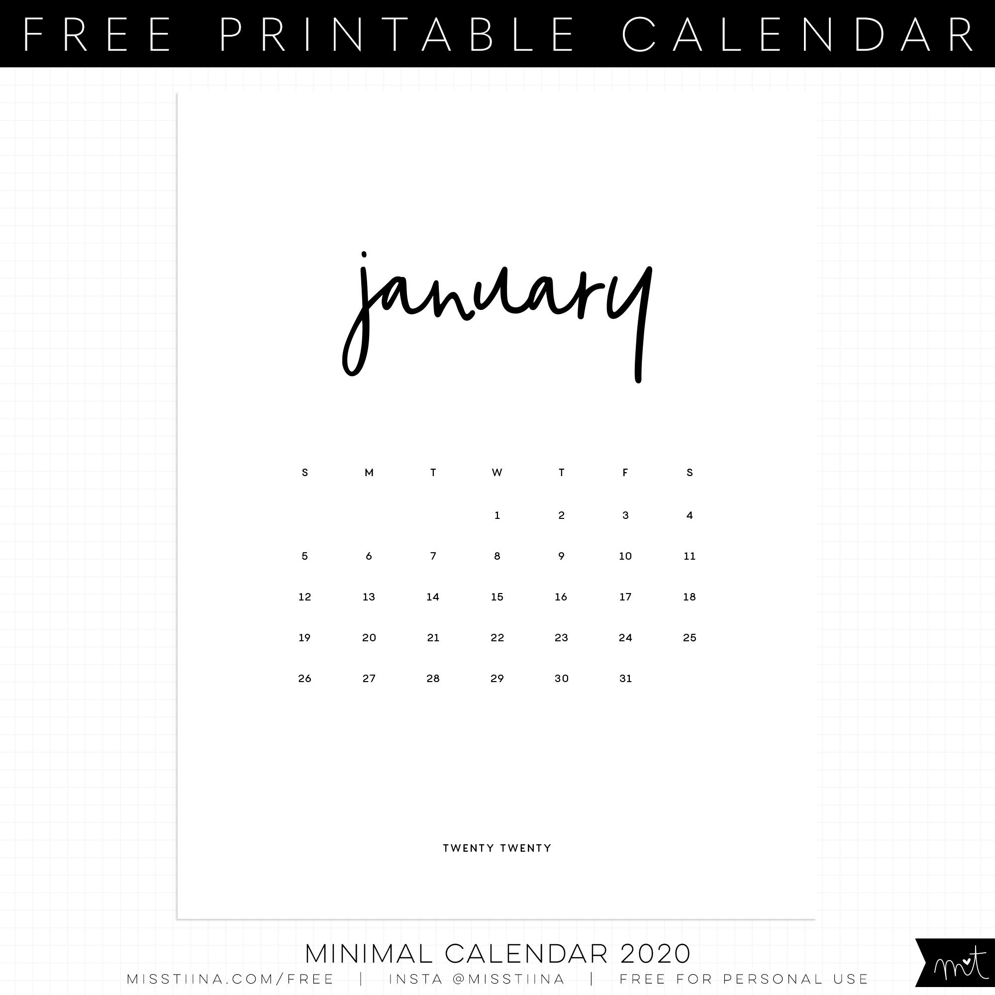 Free Calendar Printables | Misstiina