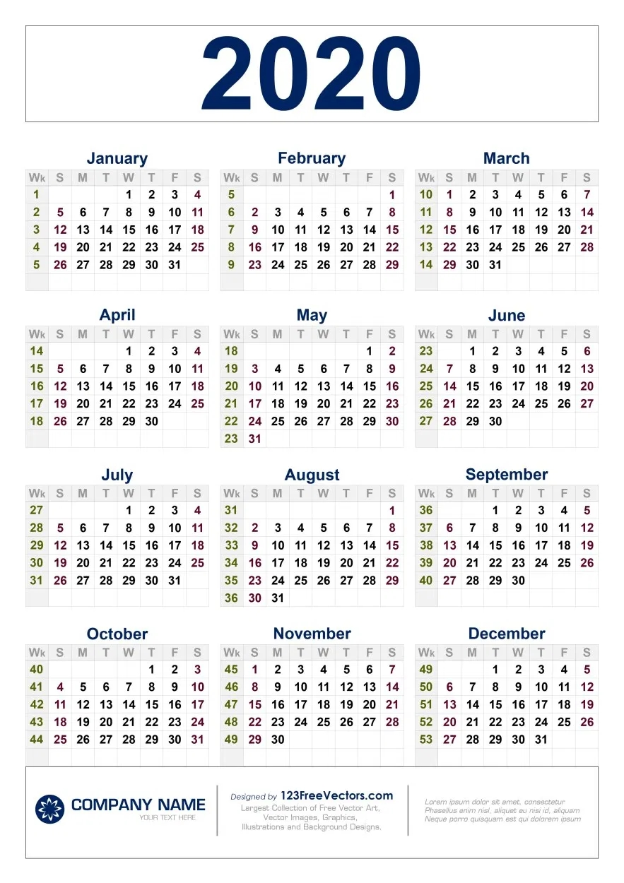 Free Download 2020 Calendar With Week Numbers (With Images