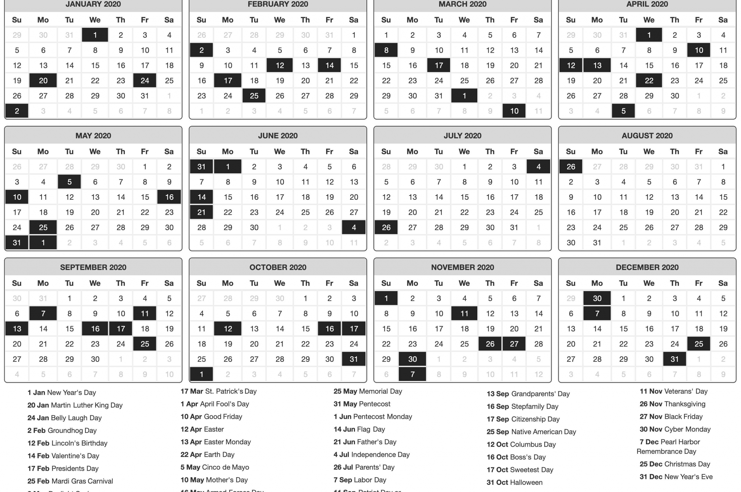 Free Download 2020 Printable Calendar Posters Images