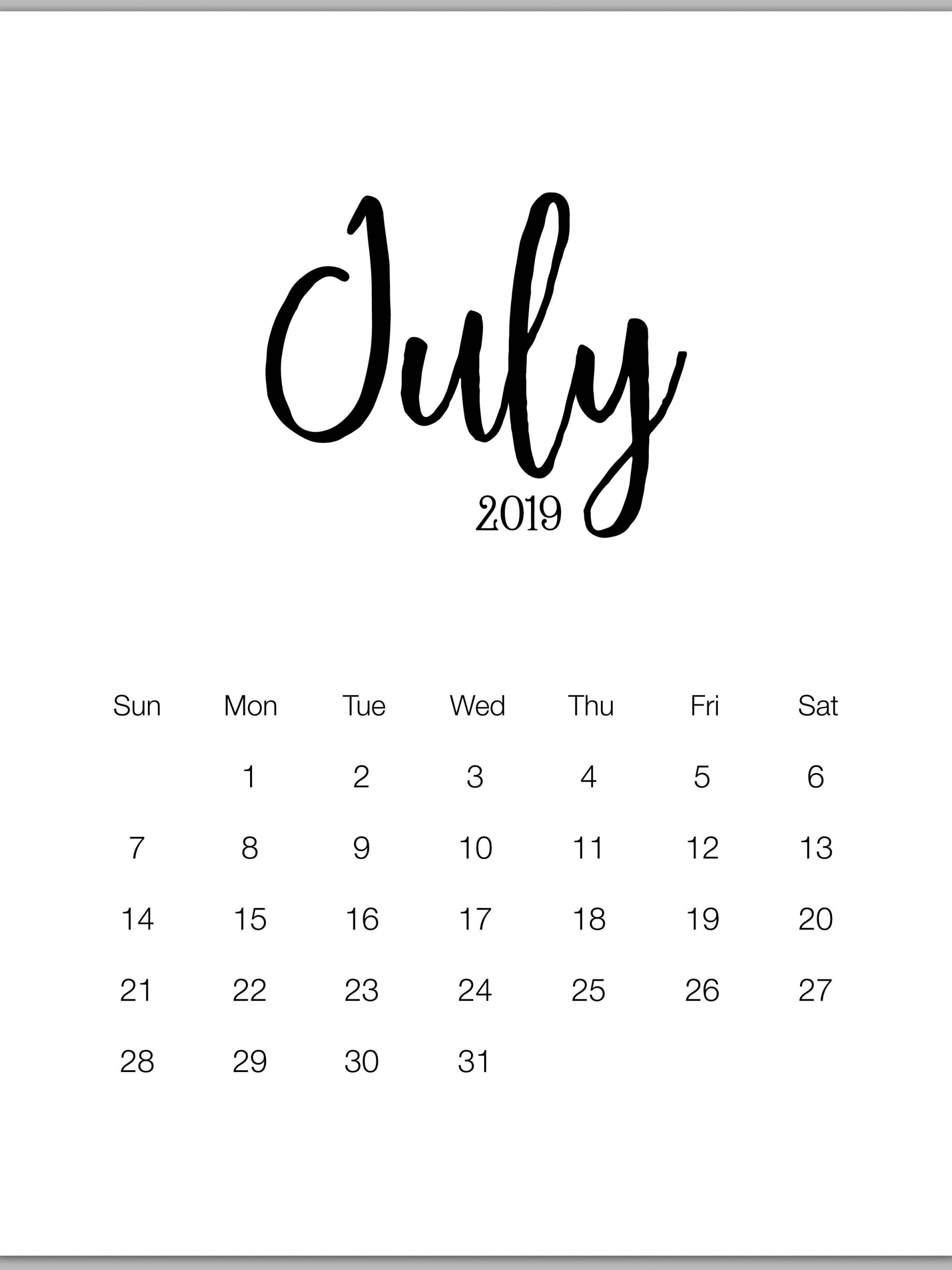Free Download July 2019 Minimalist Calendar July Calendar