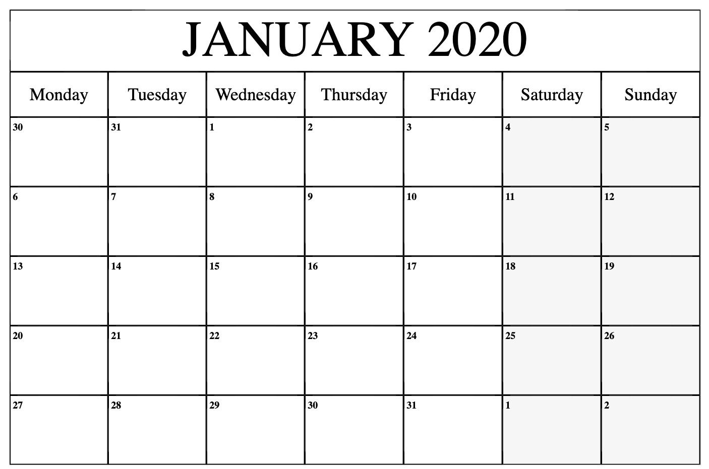 Printable Calendar January 2020 Word