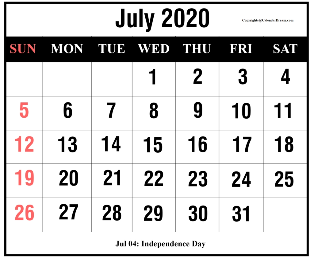 Free July 2020 Printable Calendar Template [Pdf] | Calendar