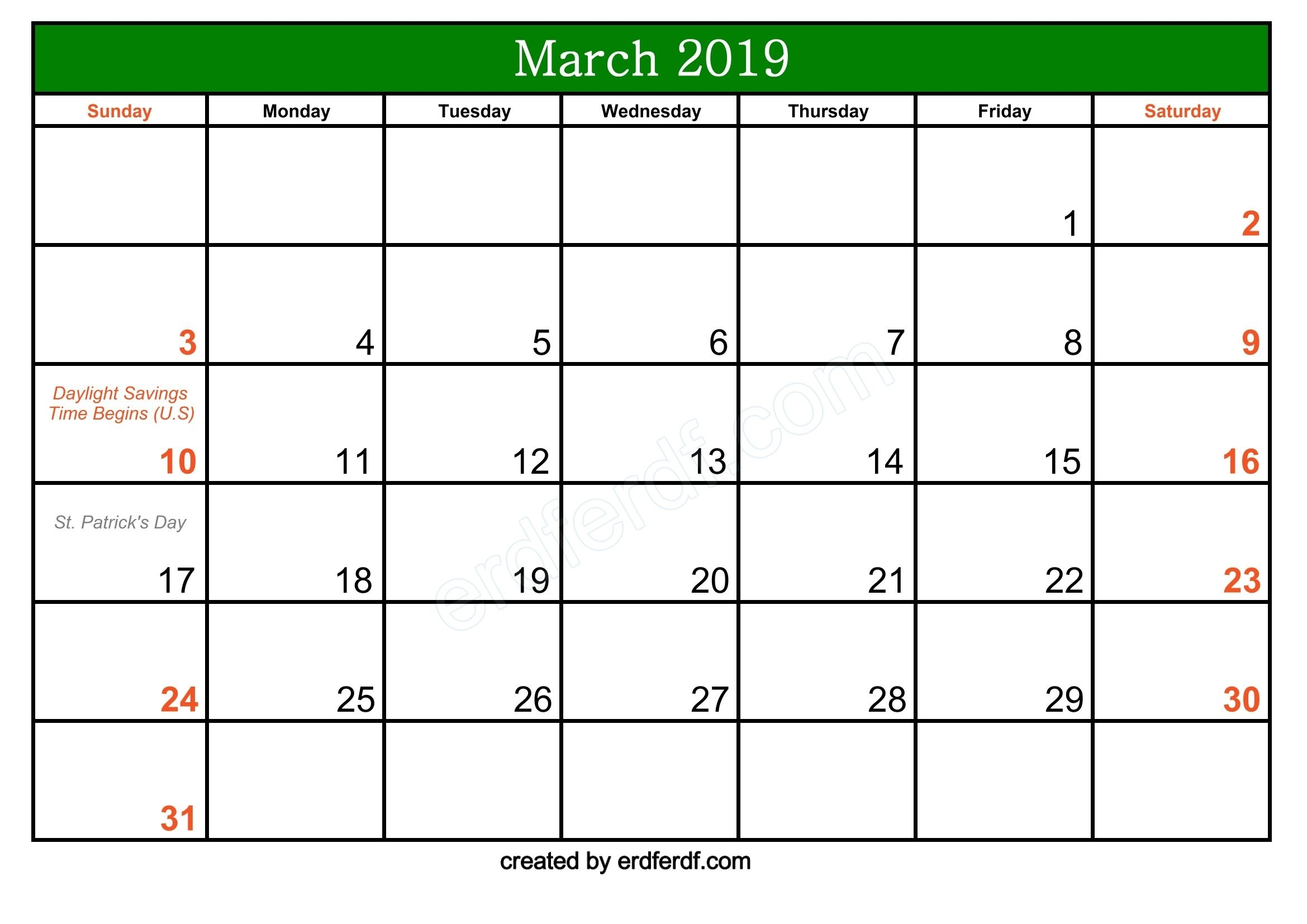 Free March 2019 Printable Calendar With Holidays | Calendar