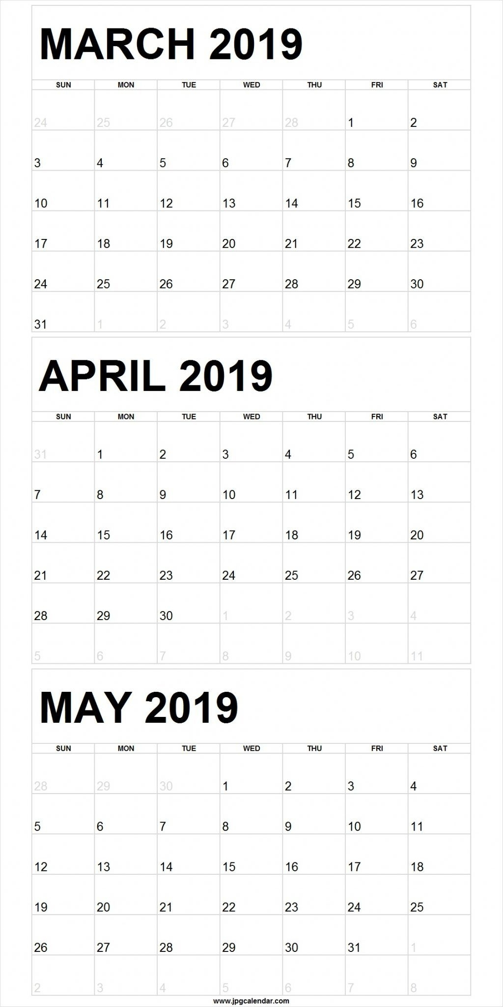 Free March April May 2020 Calendar Printable Template (With