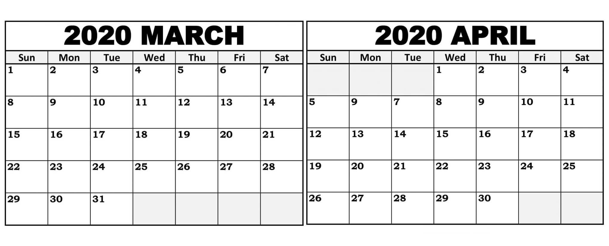 Free March April May 2020 Calendar Printable Templates In