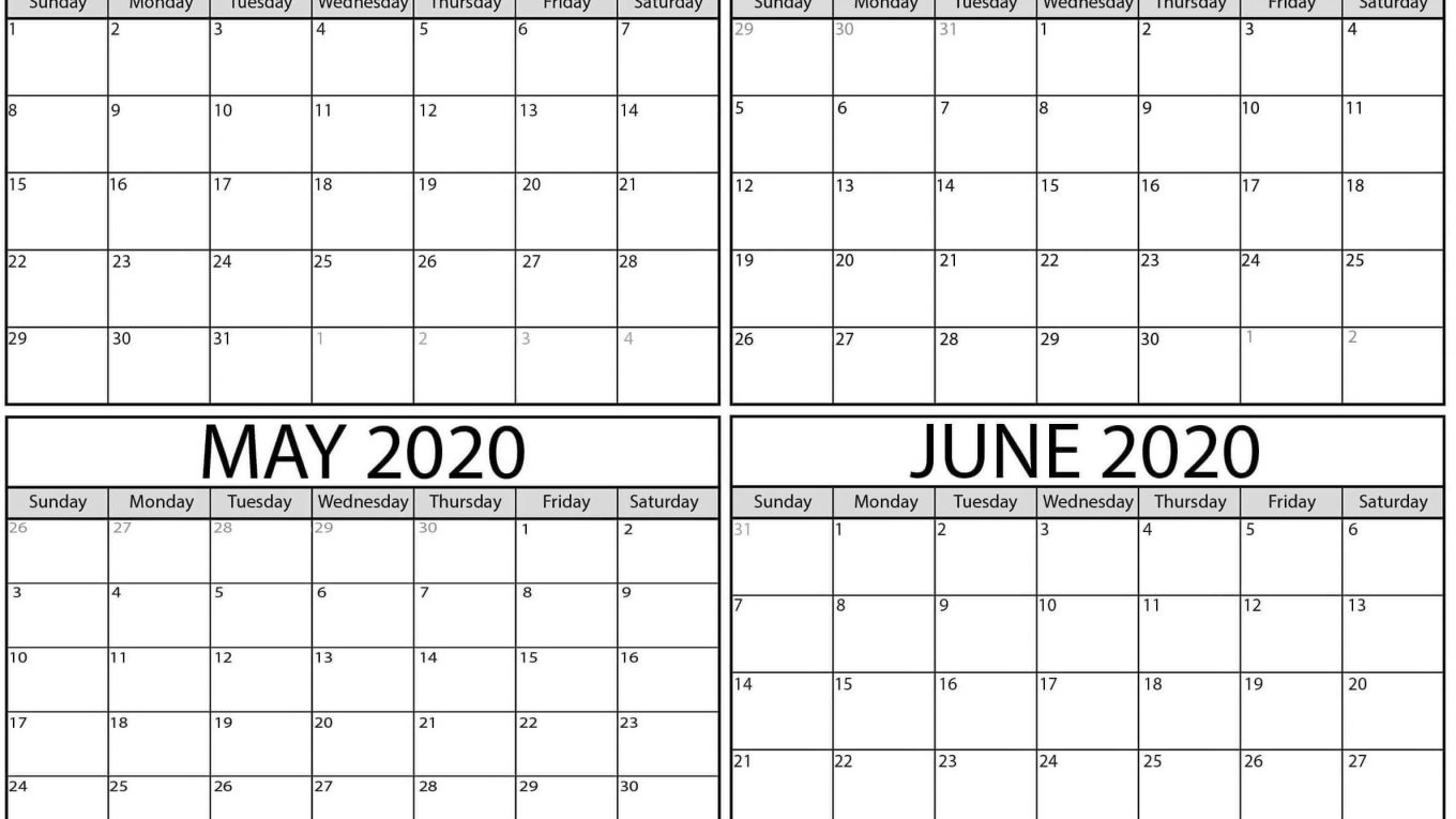 Free March To June 2020 Calendar Pdf Templates - One