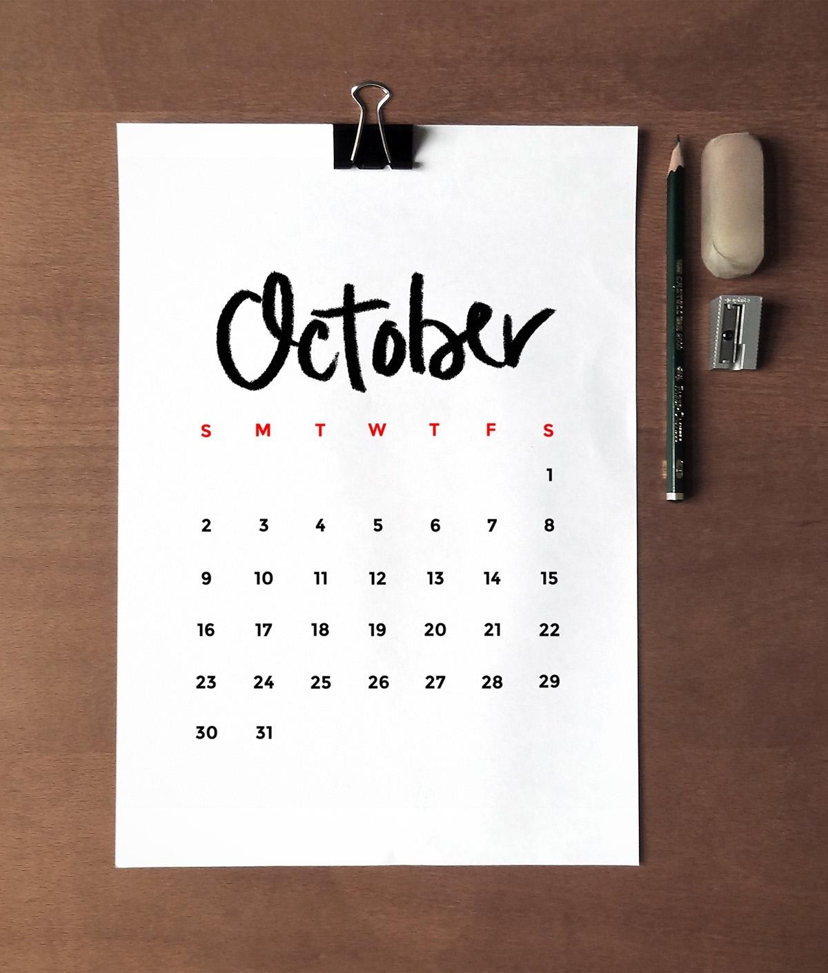 Free Minimalist 2016 Printable Calendar • Little Gold Pixel