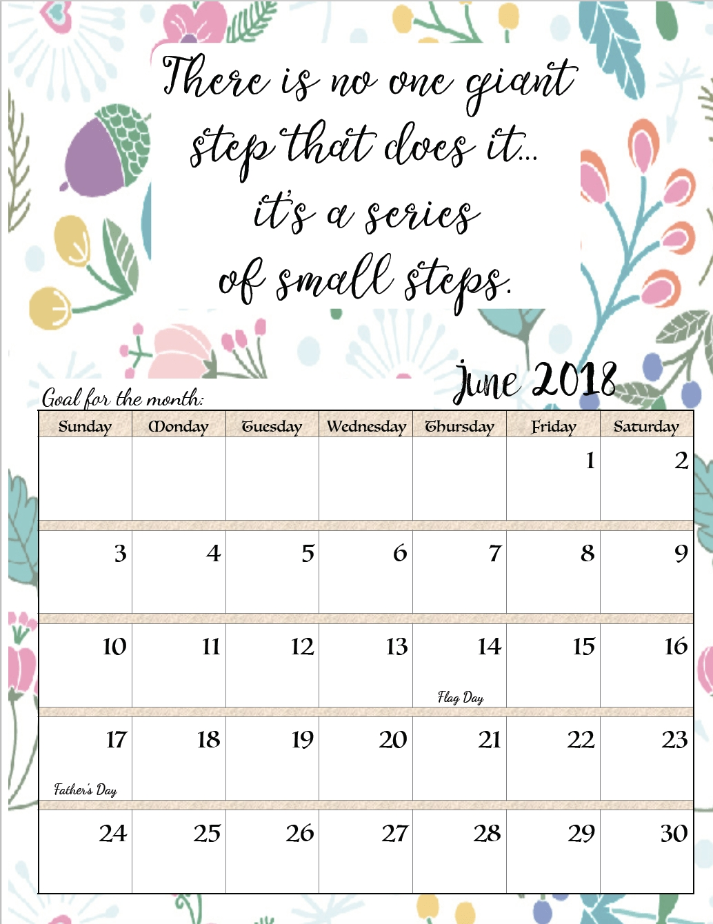 Free Printable 2018 Monthly Motivational Calendars | Free