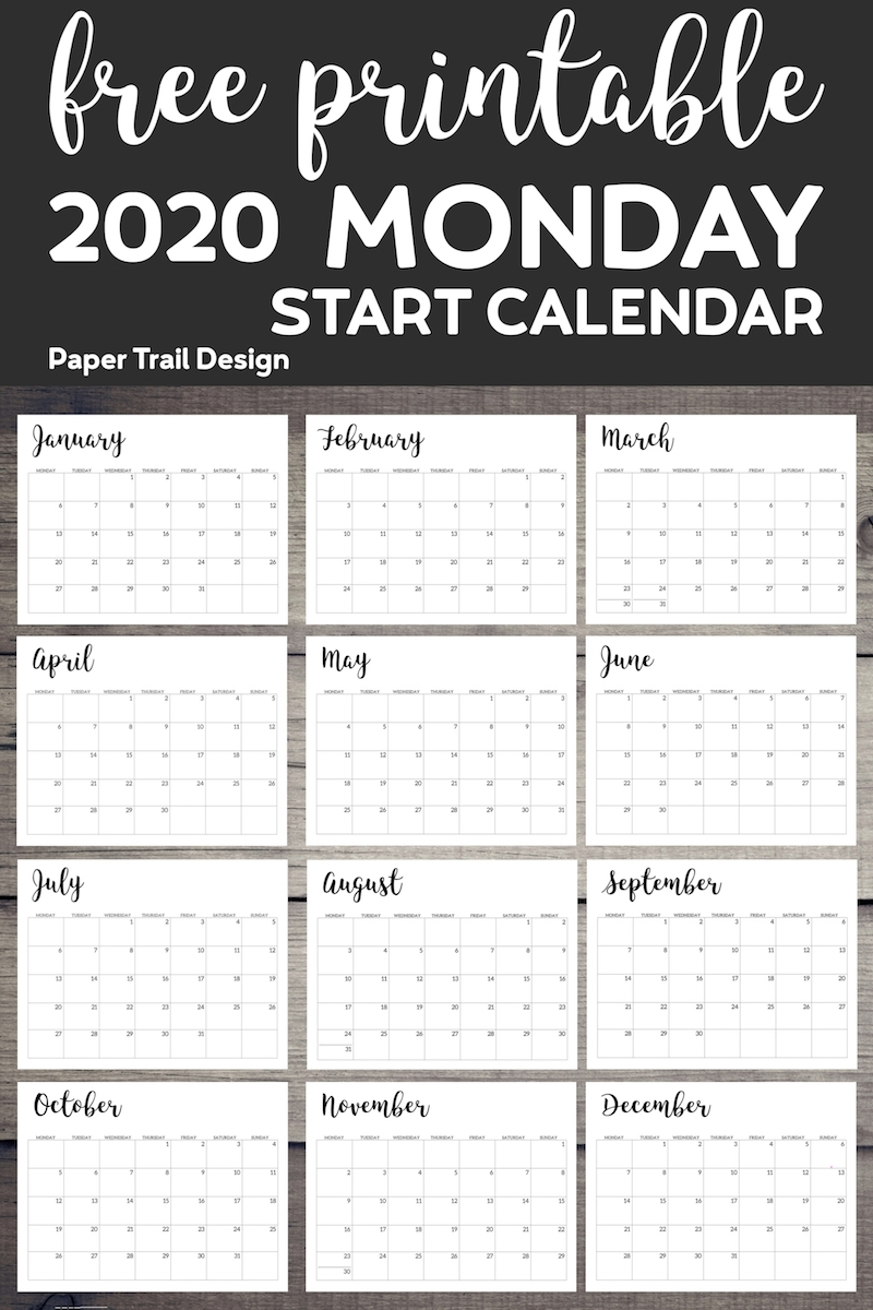 Free Printable 2020 Calendar - Monday Start - Paper Trail Design