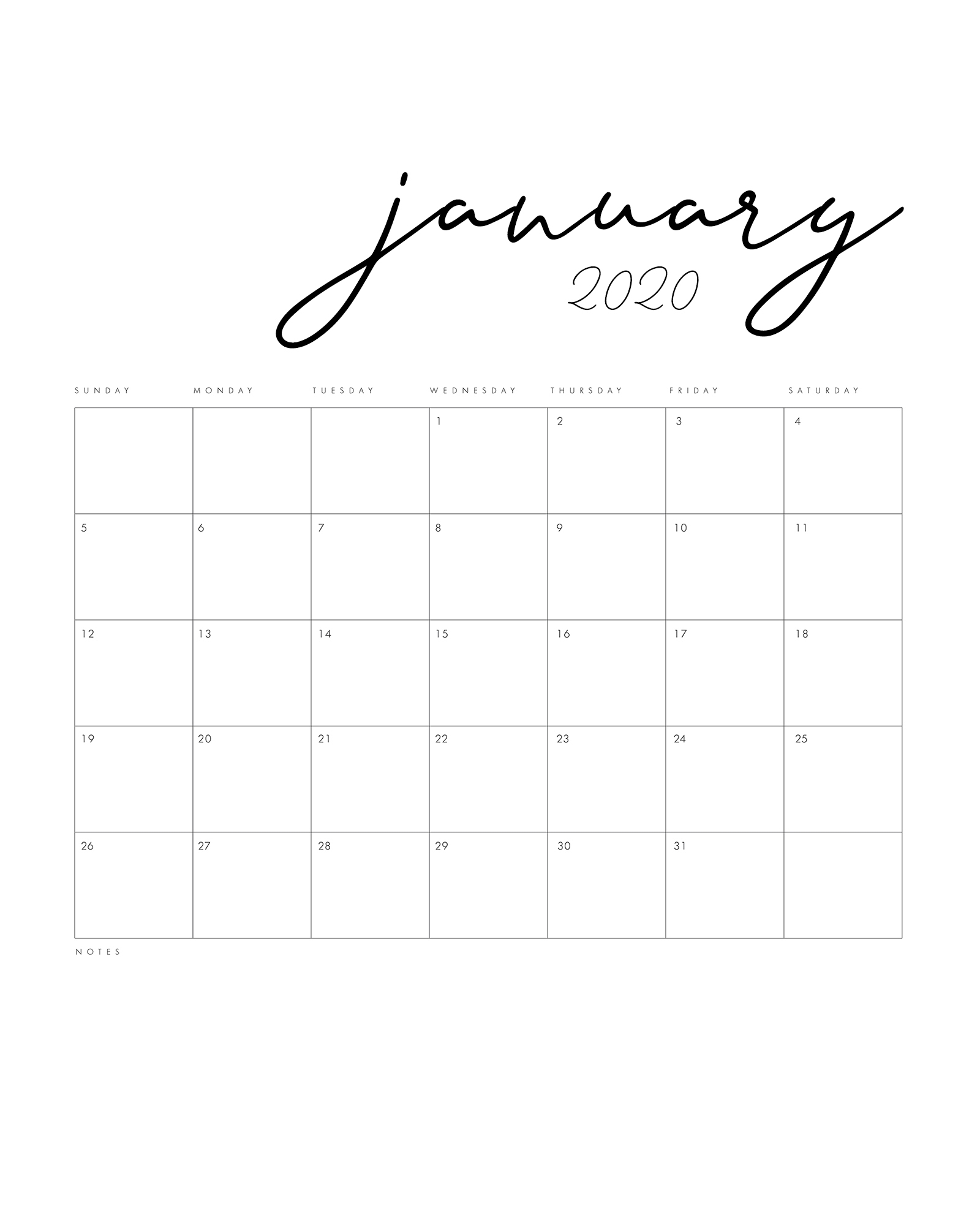 Free Printable 2020 Minimal Calendar - The Cottage Market