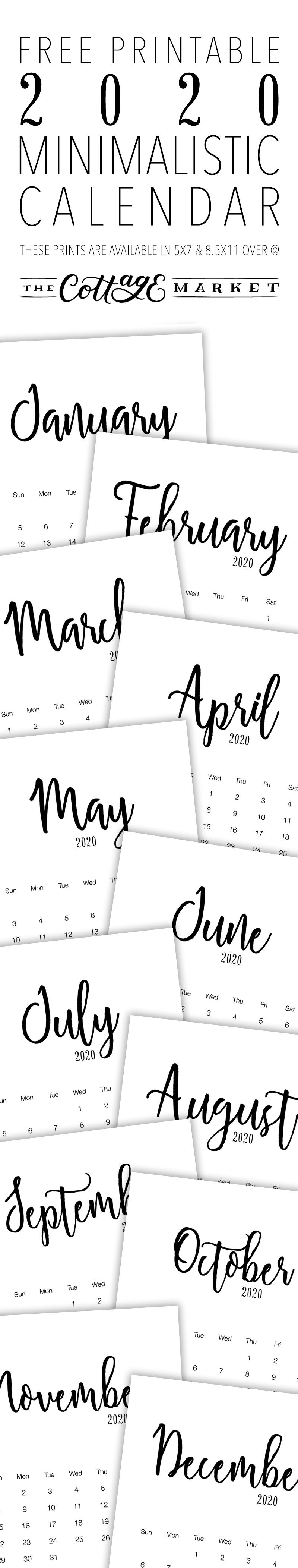 Free Printable 2020 Minimalist Calendar - The Cottage Market