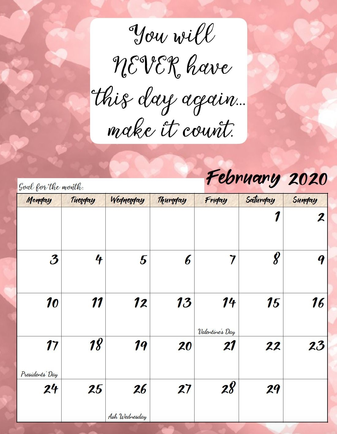 Free Printable Calendars With Inspirational Quotes 2020