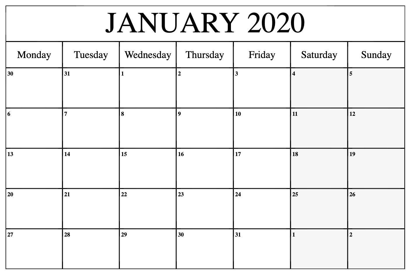 Free Printable 2020 Monthly Calendar With Holidays Word Pdf