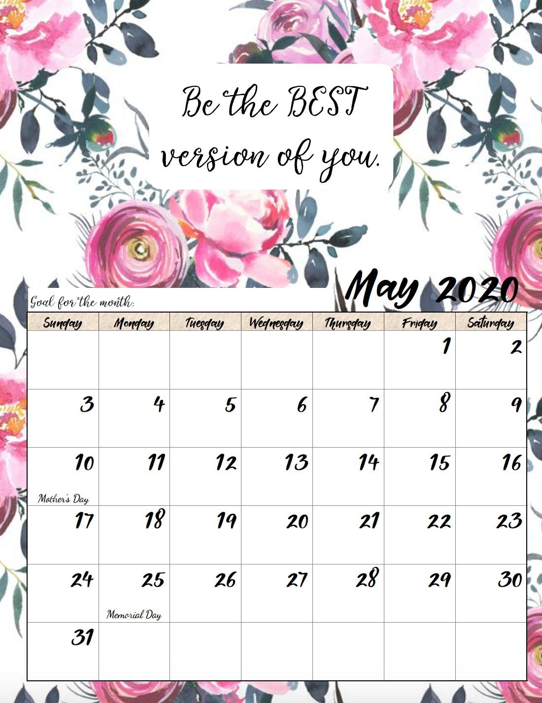 Free Printable 2020 Monthly Motivational Calendars (With