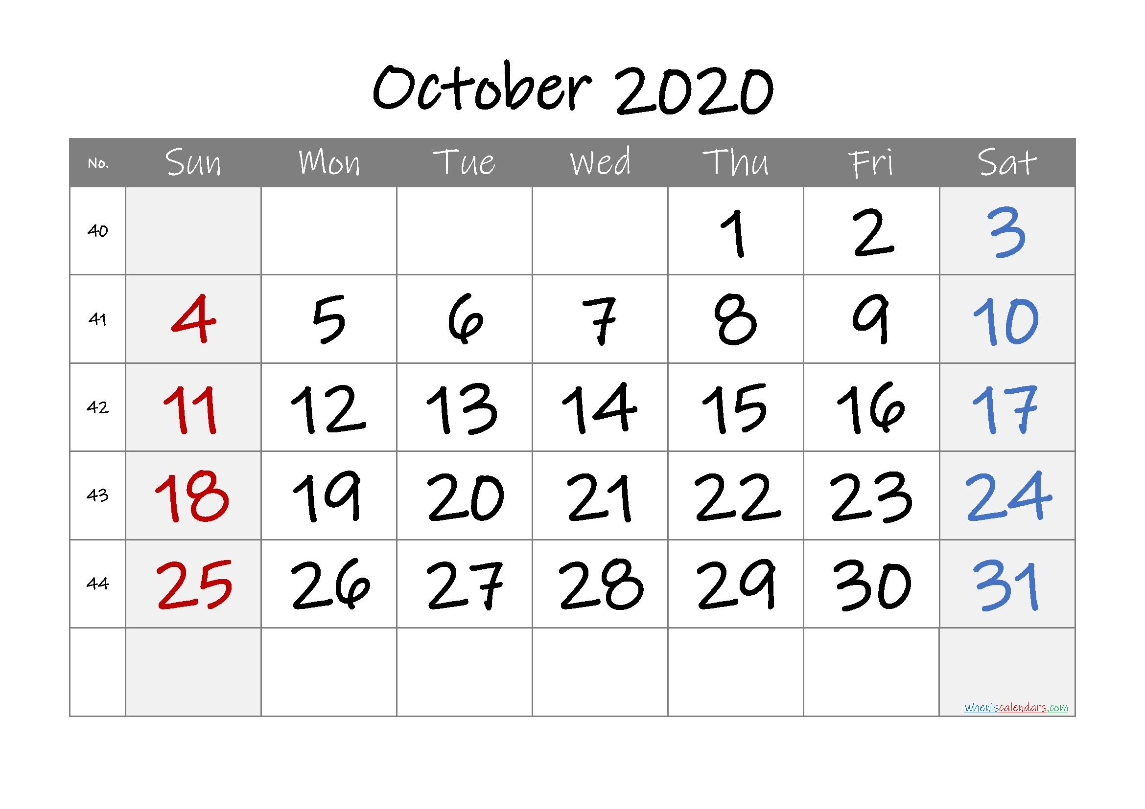 Free Printable 2020 October Calendar – Free Printable 2020