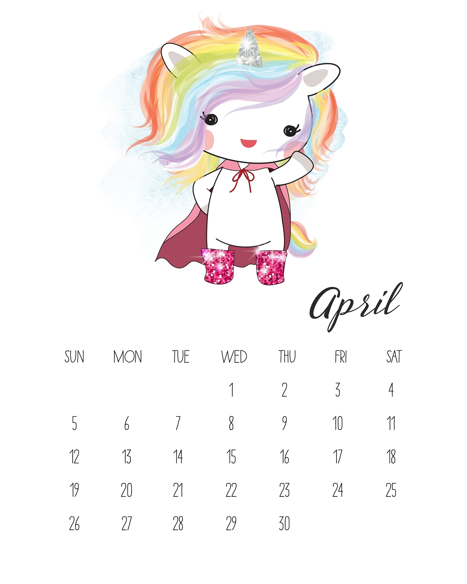 Free Printable 2020 Pop Culture Unicorn Calendar - The
