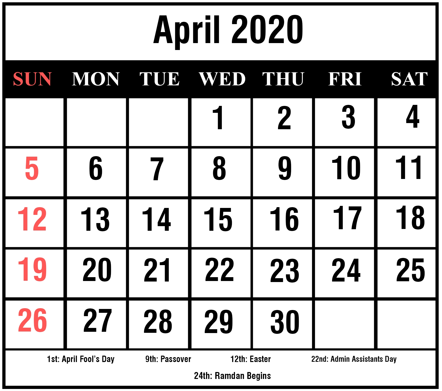 Free Printable April 2020 Calendar Template Cute And Floral