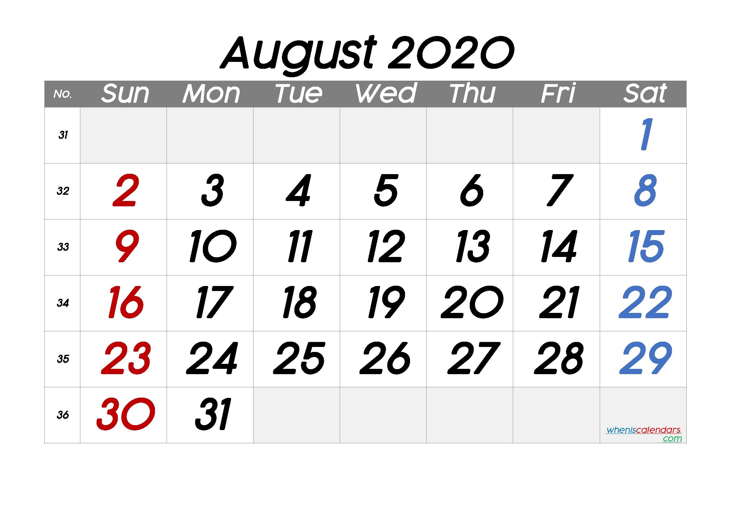 Free Printable August 2020 Calendar With Week Numbers | Free