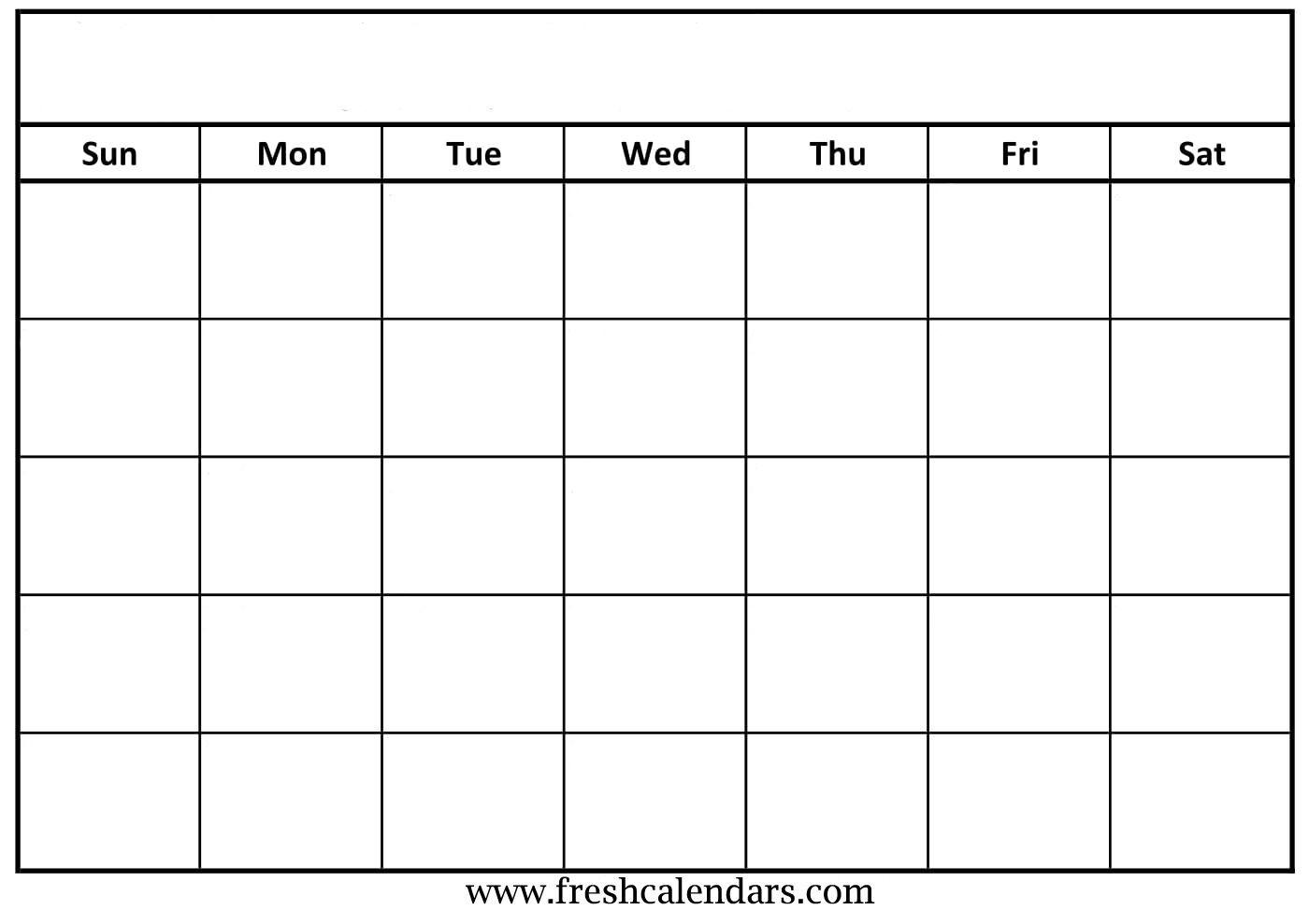 Free Printable Blank Calendar Grid   Monthly Printable Calender