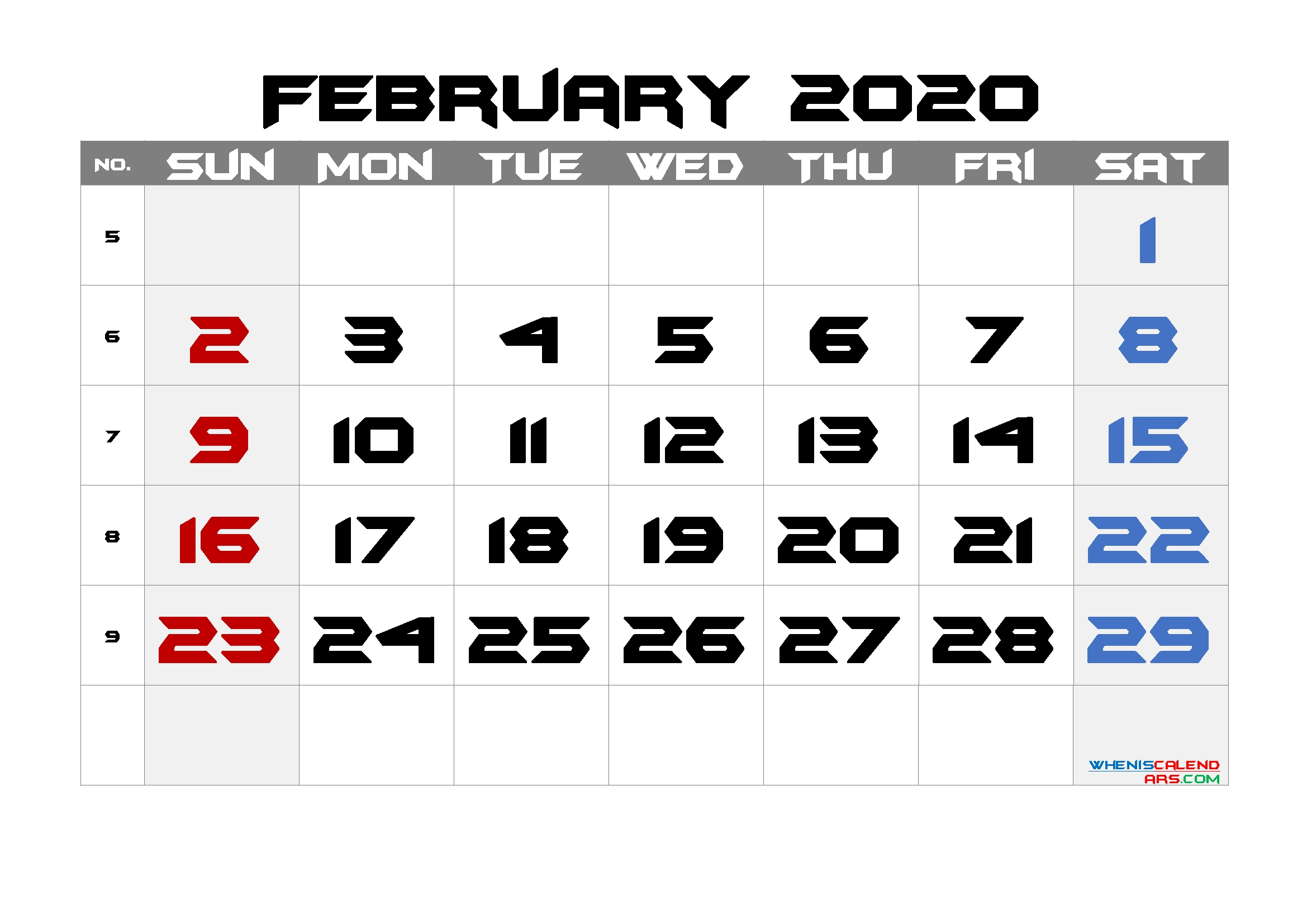 Free Printable Calendar 2020 February – 6 Templates – Free