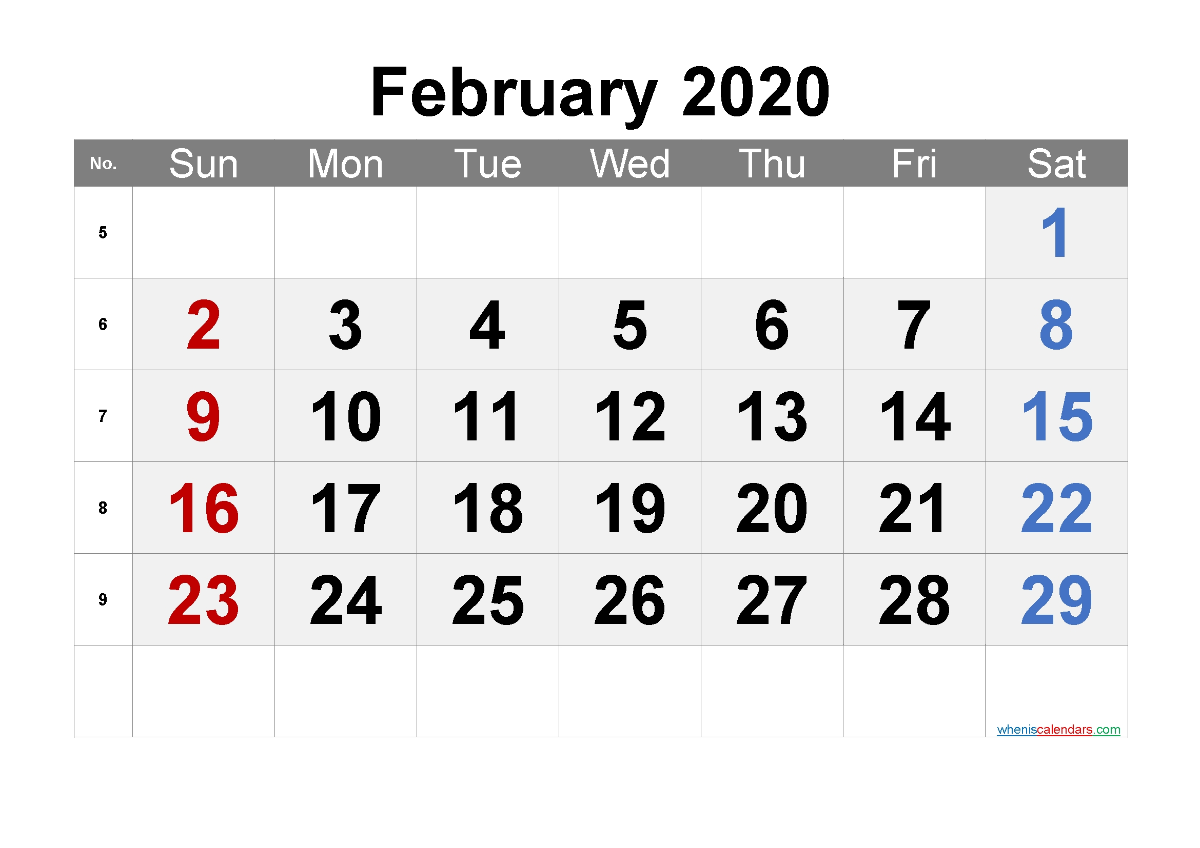 Free Printable Calendar 2020 February - 6 Templates | Free