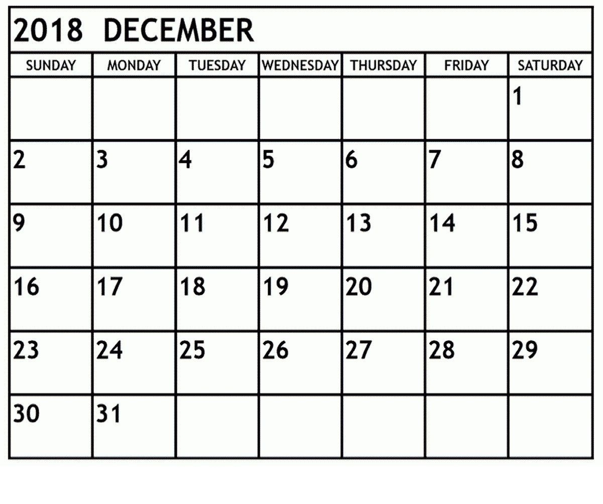 Free Printable Calendar December 2018 Headers With Notes