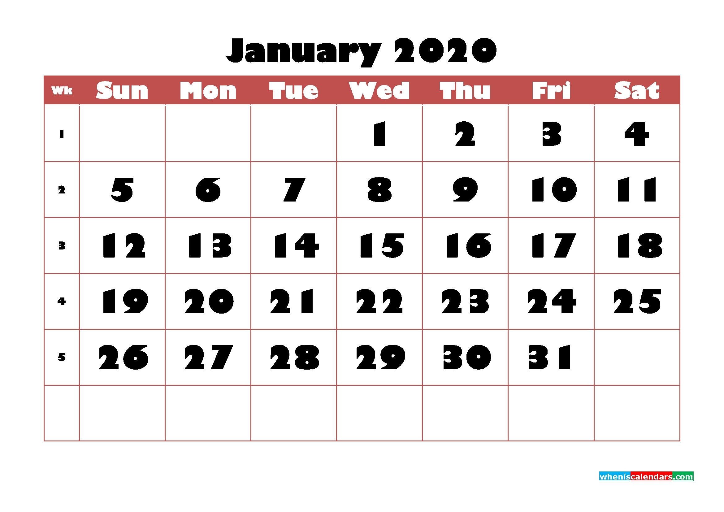 Free Printable Calendar January 2020 Pdf, Word – No.m20B721